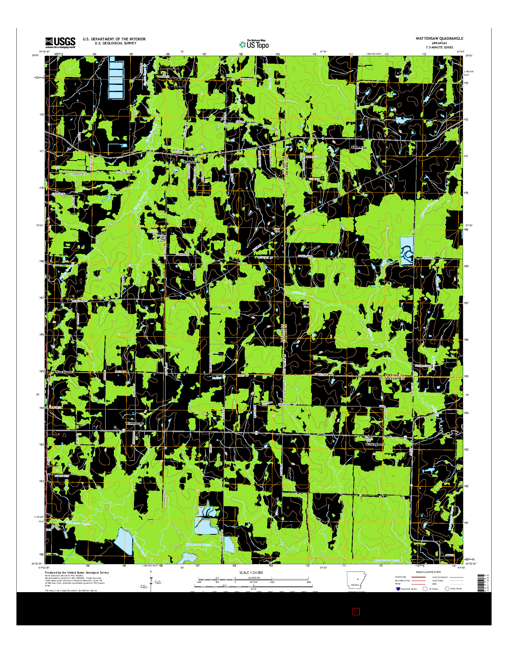 USGS US TOPO 7.5-MINUTE MAP FOR WATTENSAW, AR 2014