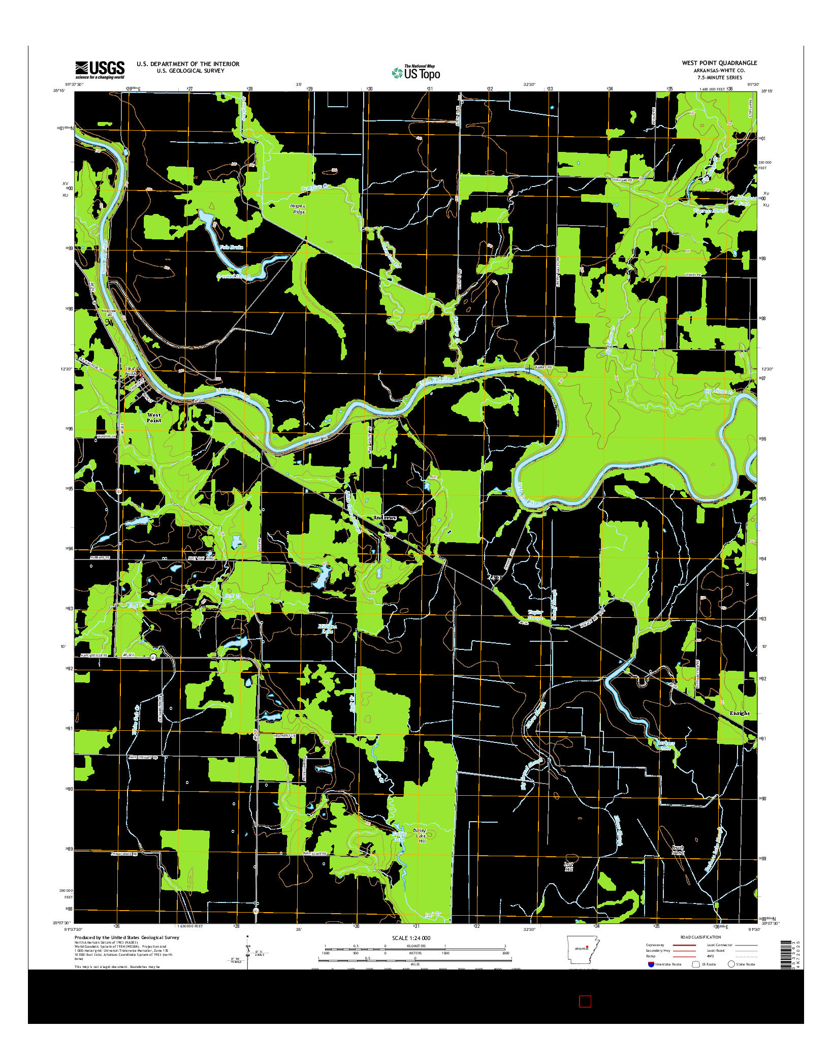 USGS US TOPO 7.5-MINUTE MAP FOR WEST POINT, AR 2014