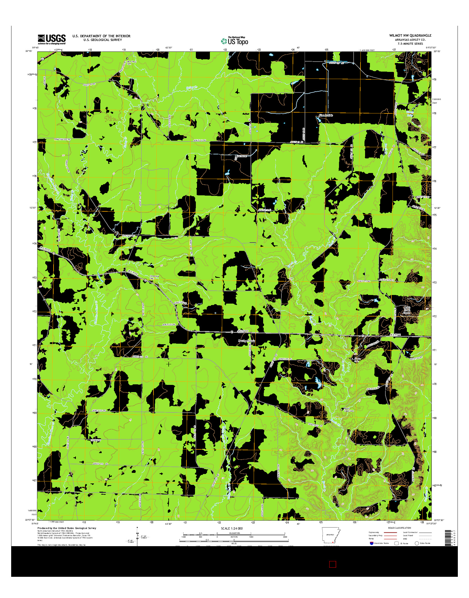 USGS US TOPO 7.5-MINUTE MAP FOR WILMOT NW, AR 2014