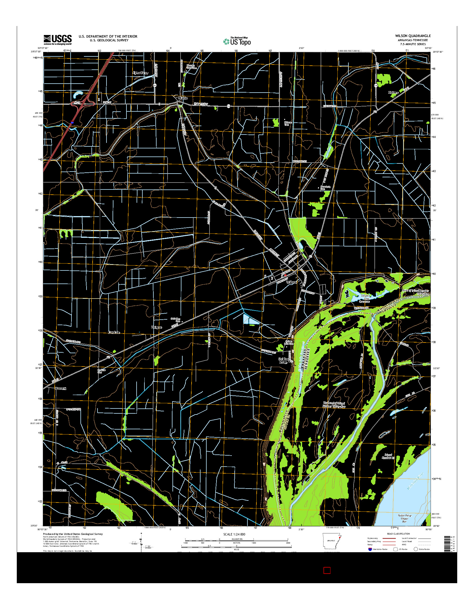 USGS US TOPO 7.5-MINUTE MAP FOR WILSON, AR-TN 2014