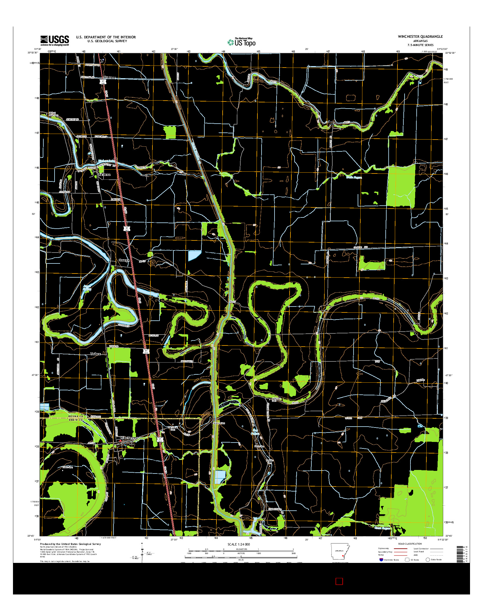USGS US TOPO 7.5-MINUTE MAP FOR WINCHESTER, AR 2014