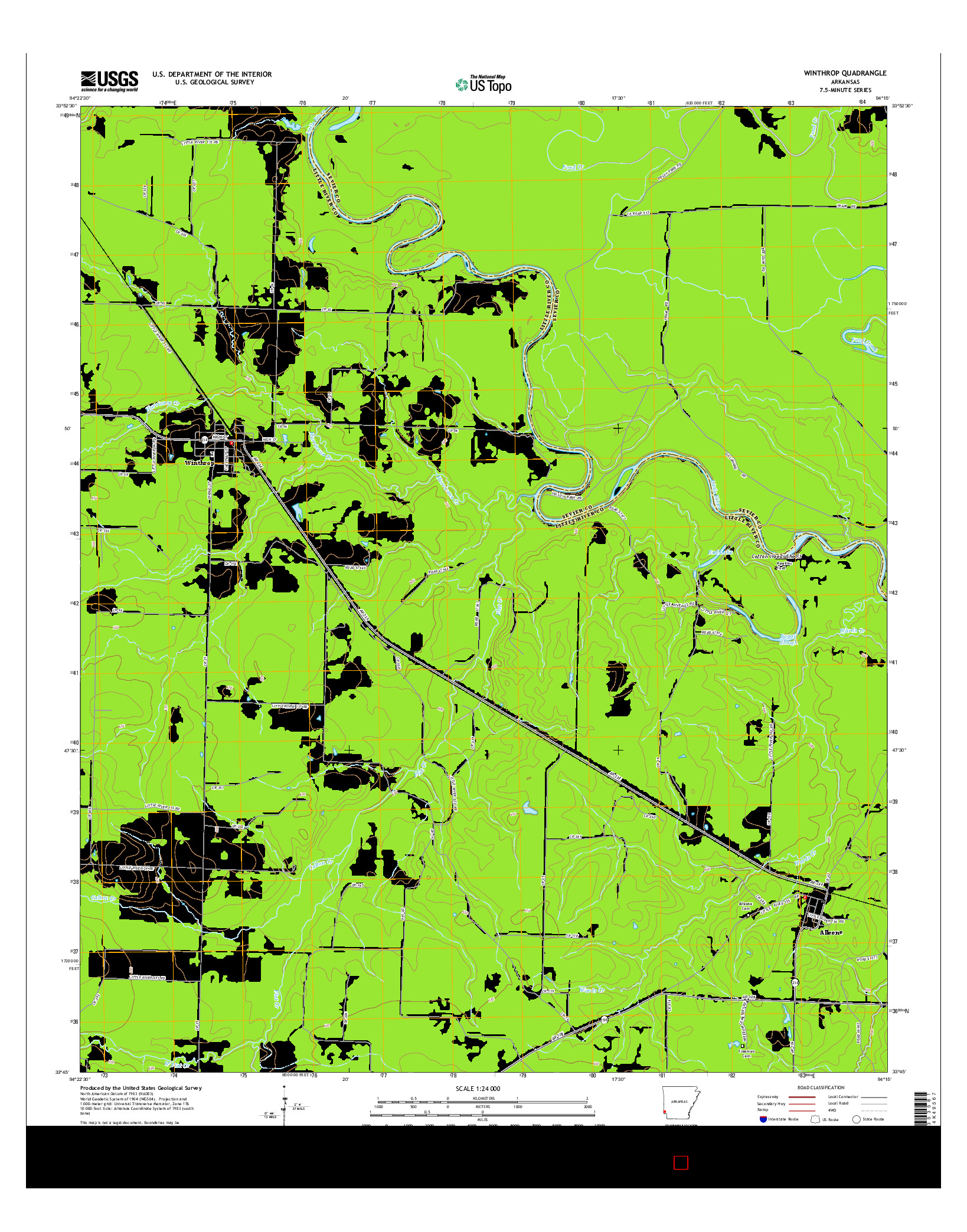 USGS US TOPO 7.5-MINUTE MAP FOR WINTHROP, AR 2014