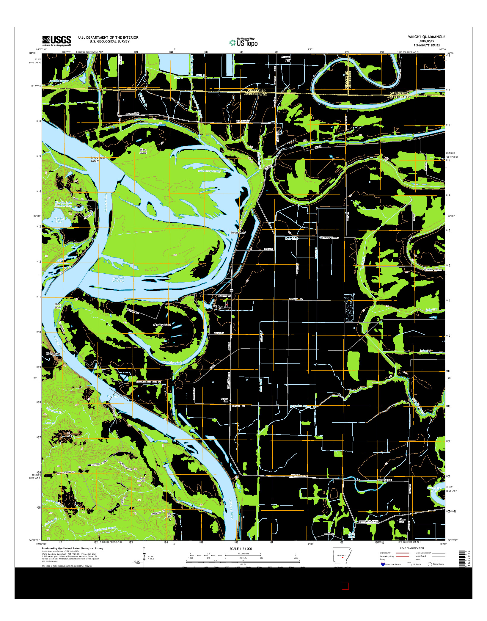 USGS US TOPO 7.5-MINUTE MAP FOR WRIGHT, AR 2014