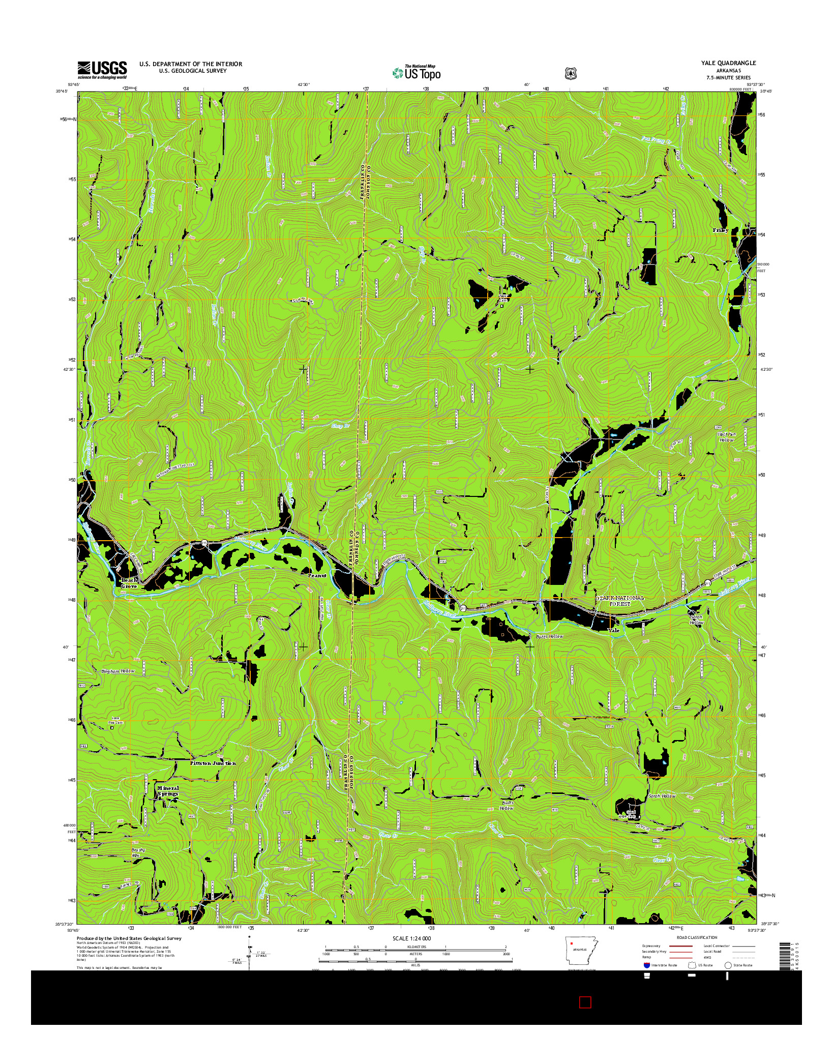 USGS US TOPO 7.5-MINUTE MAP FOR YALE, AR 2014