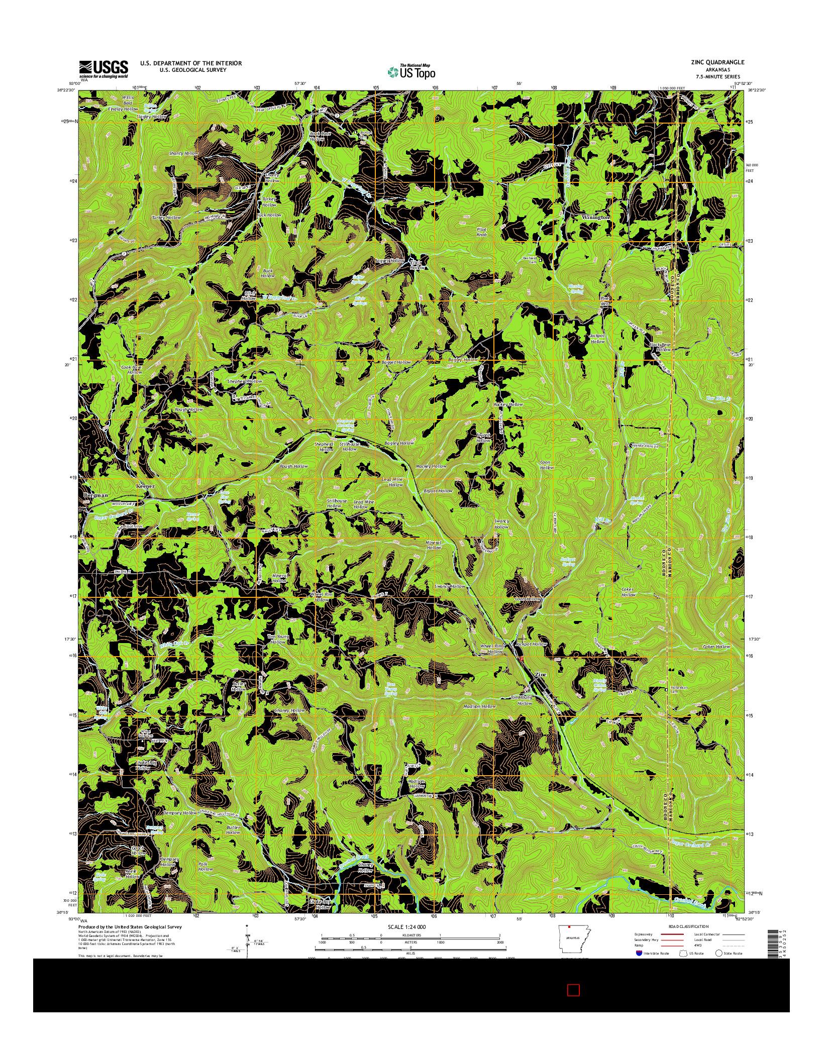 USGS US TOPO 7.5-MINUTE MAP FOR ZINC, AR 2014