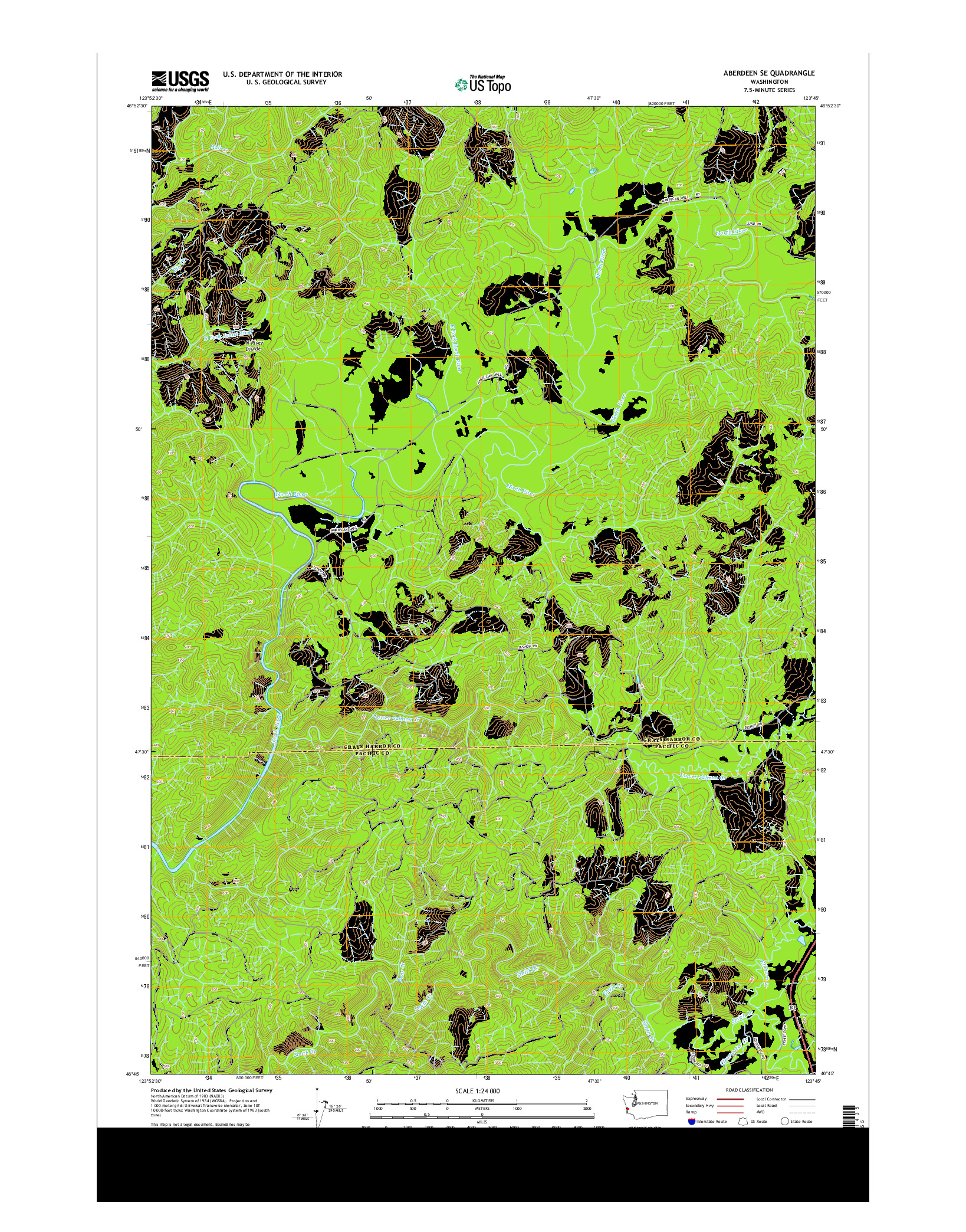 USGS US TOPO 7.5-MINUTE MAP FOR ABERDEEN SE, WA 2014