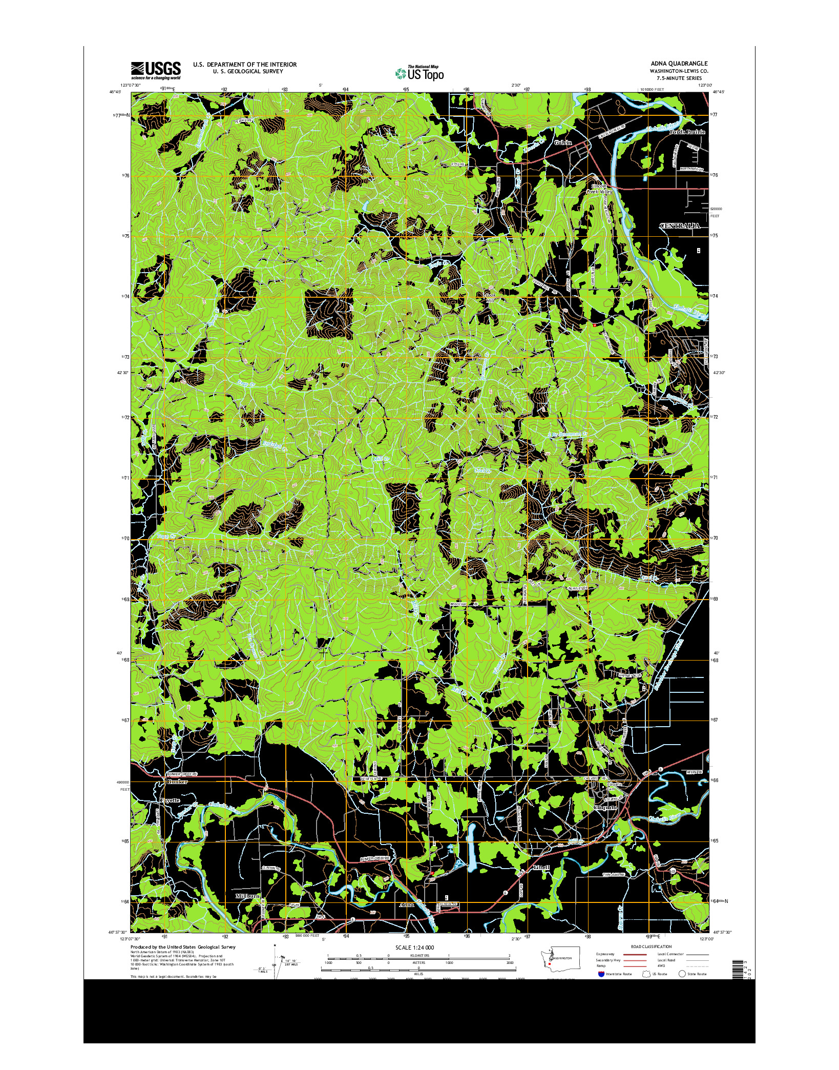 USGS US TOPO 7.5-MINUTE MAP FOR ADNA, WA 2014