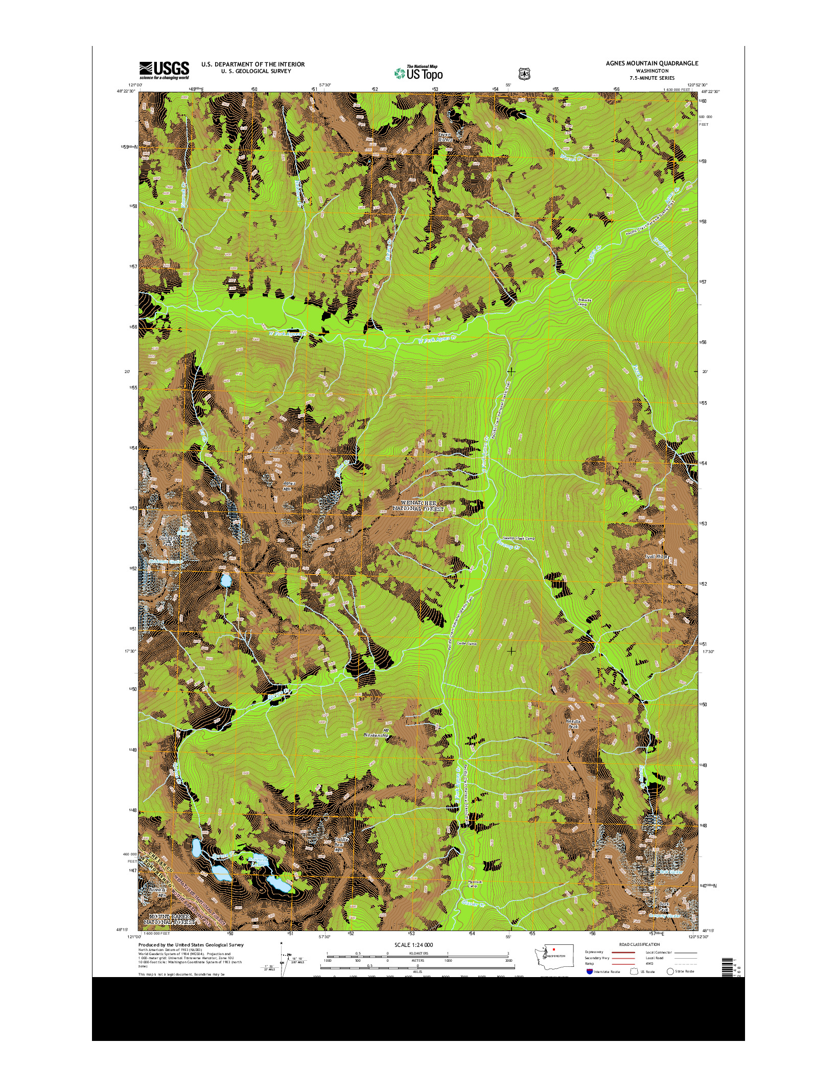 USGS US TOPO 7.5-MINUTE MAP FOR AGNES MOUNTAIN, WA 2014