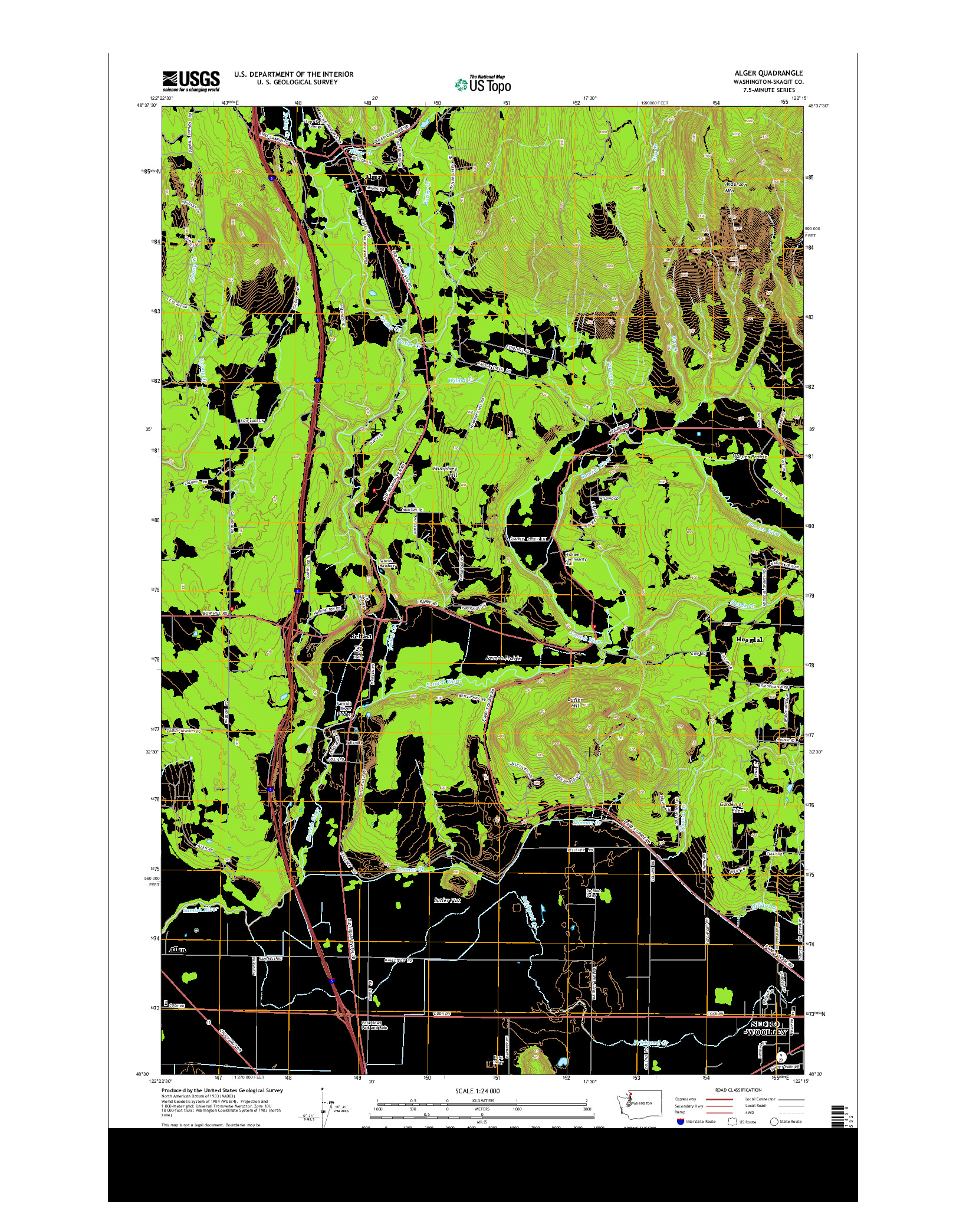 USGS US TOPO 7.5-MINUTE MAP FOR ALGER, WA 2014