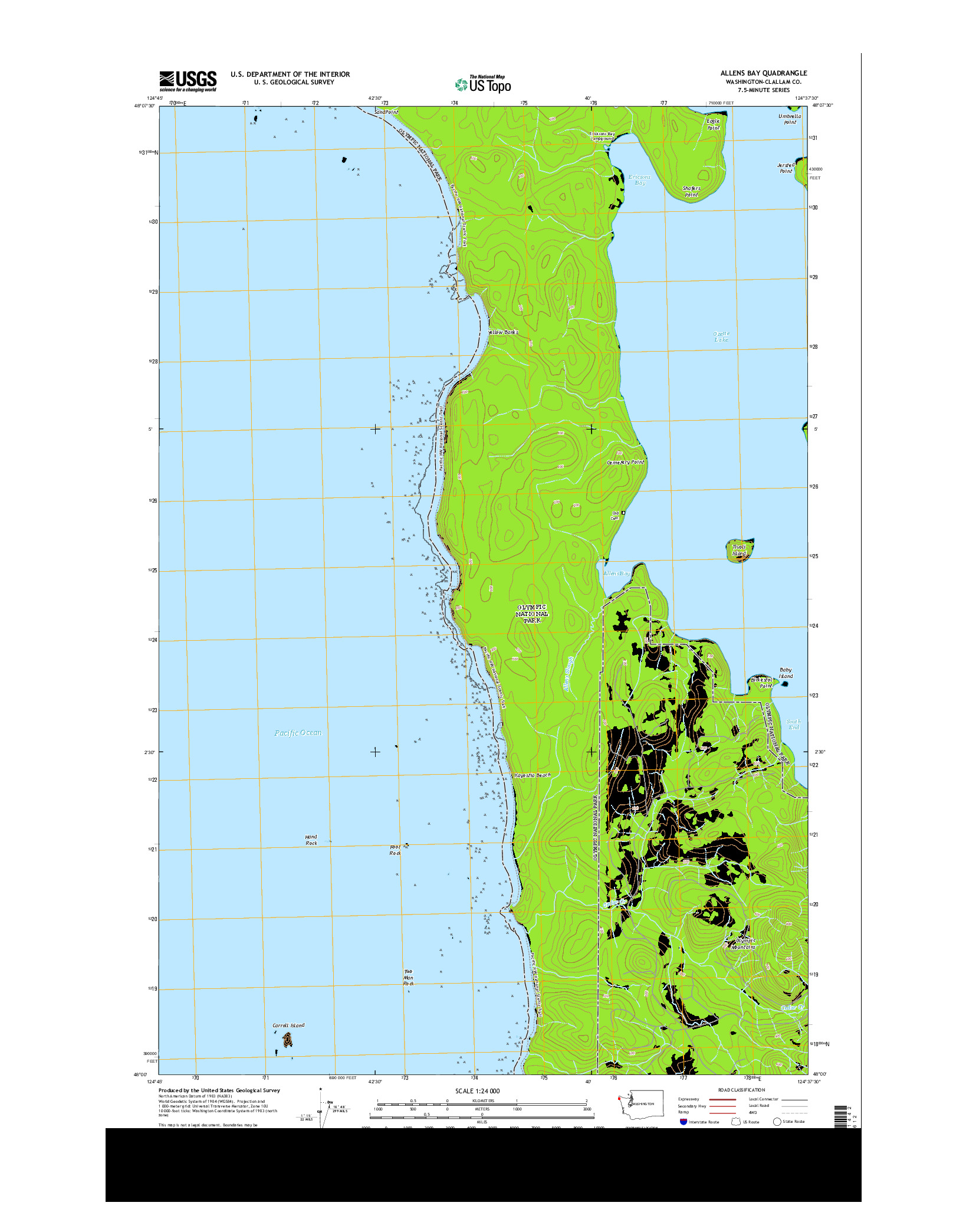 USGS US TOPO 7.5-MINUTE MAP FOR ALLENS BAY, WA 2014