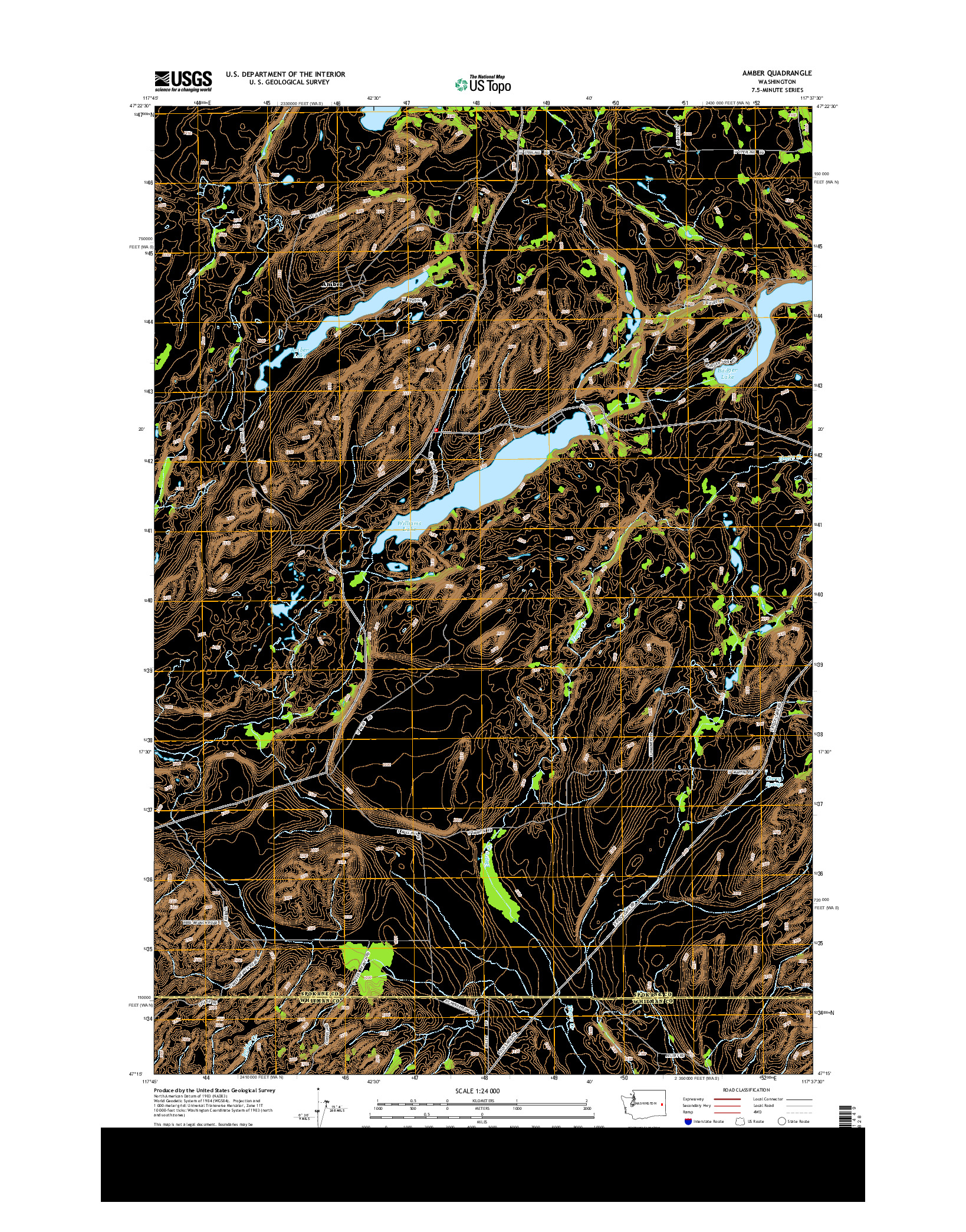 USGS US TOPO 7.5-MINUTE MAP FOR AMBER, WA 2014