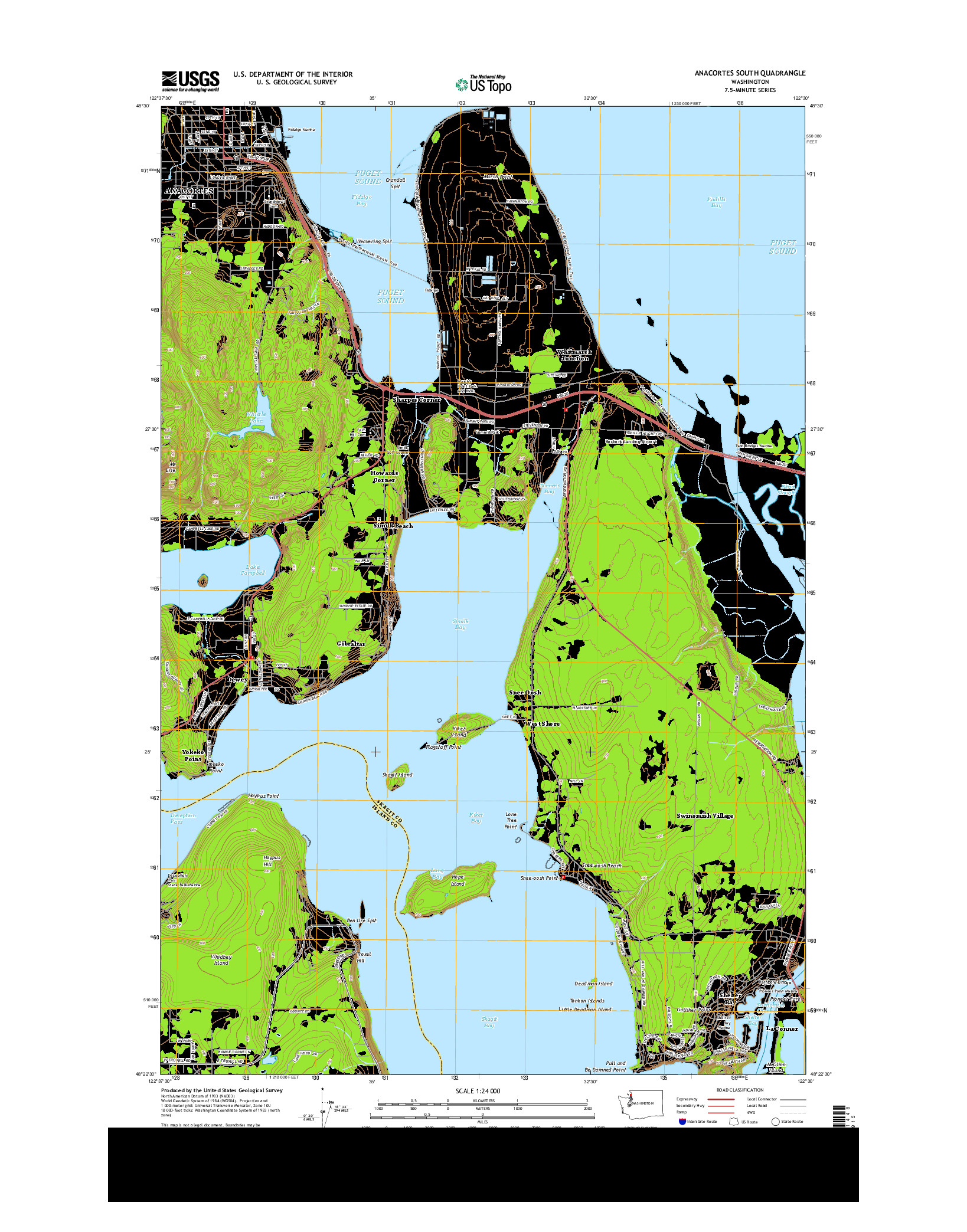 USGS US TOPO 7.5-MINUTE MAP FOR ANACORTES SOUTH, WA 2014