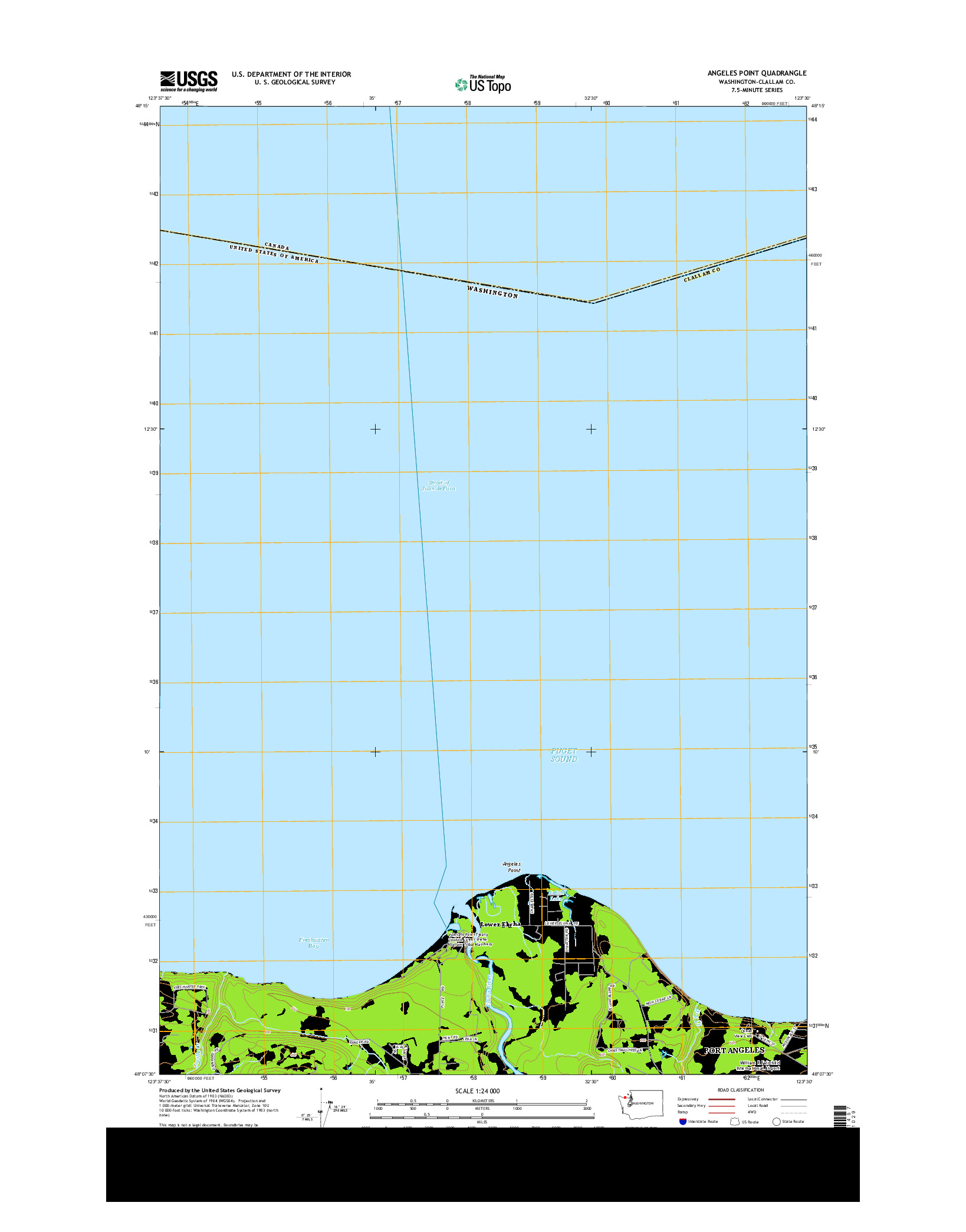 USGS US TOPO 7.5-MINUTE MAP FOR ANGELES POINT, WA 2014