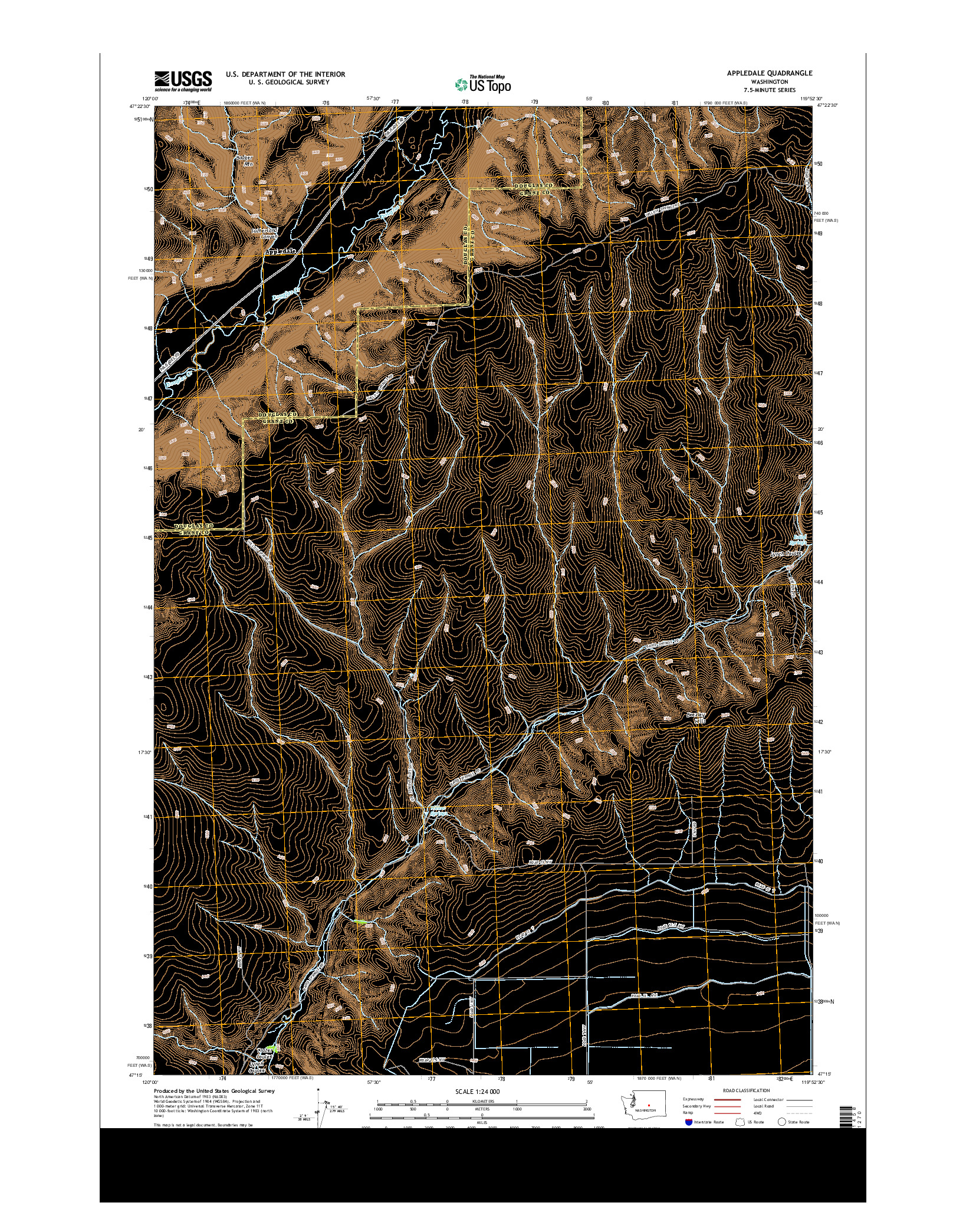 USGS US TOPO 7.5-MINUTE MAP FOR APPLEDALE, WA 2014