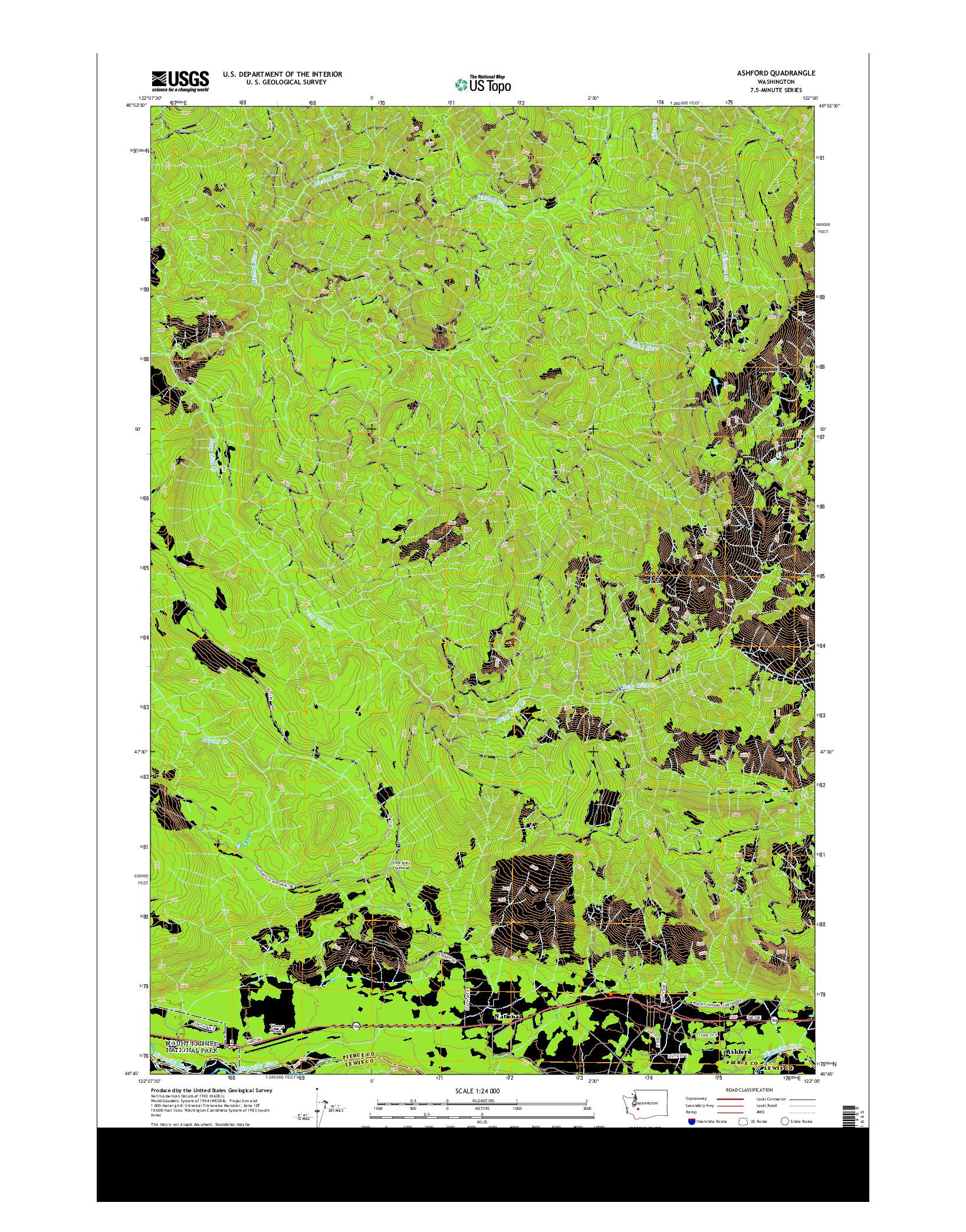 USGS US TOPO 7.5-MINUTE MAP FOR ASHFORD, WA 2014