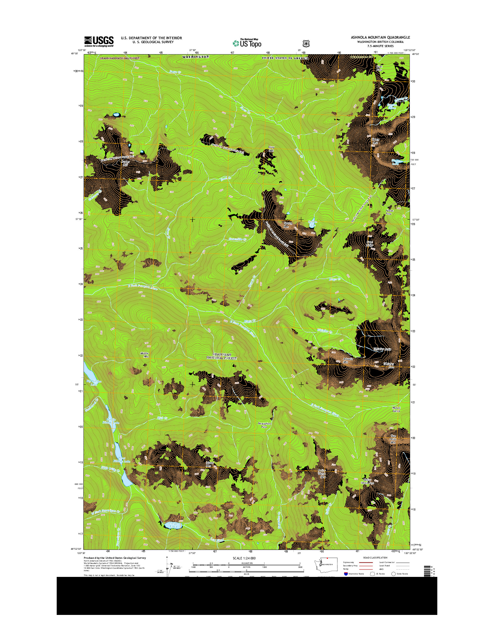 USGS US TOPO 7.5-MINUTE MAP FOR ASHNOLA MOUNTAIN, WA-BC 2014
