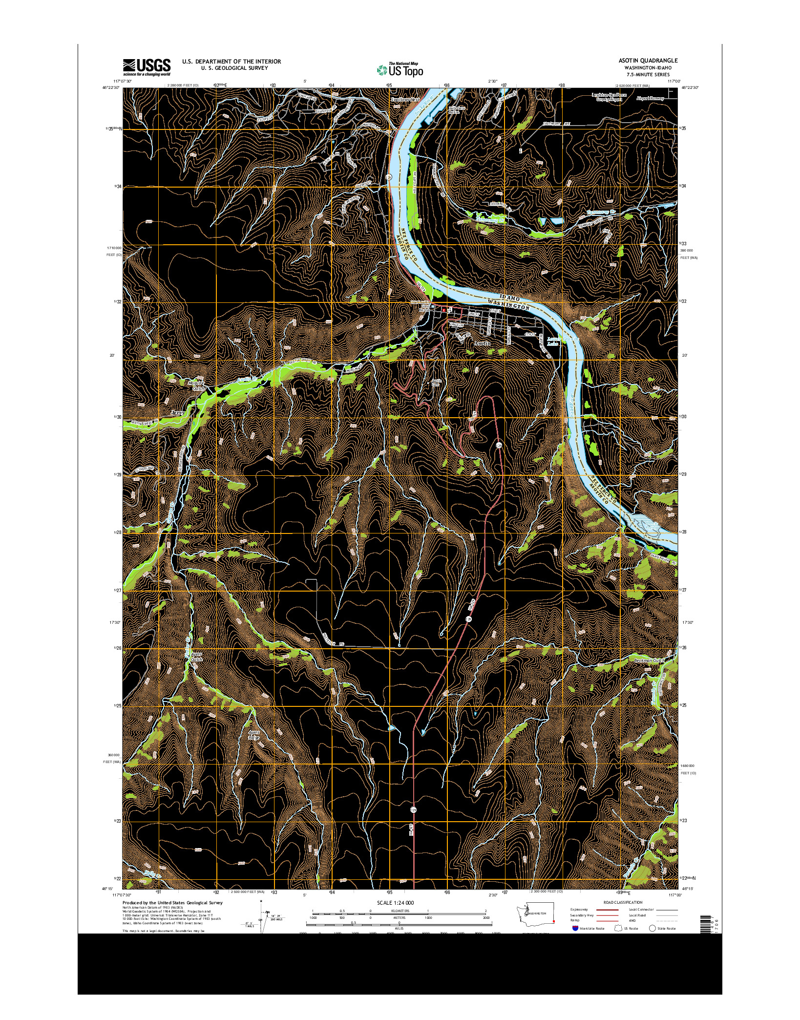 USGS US TOPO 7.5-MINUTE MAP FOR ASOTIN, WA-ID 2014