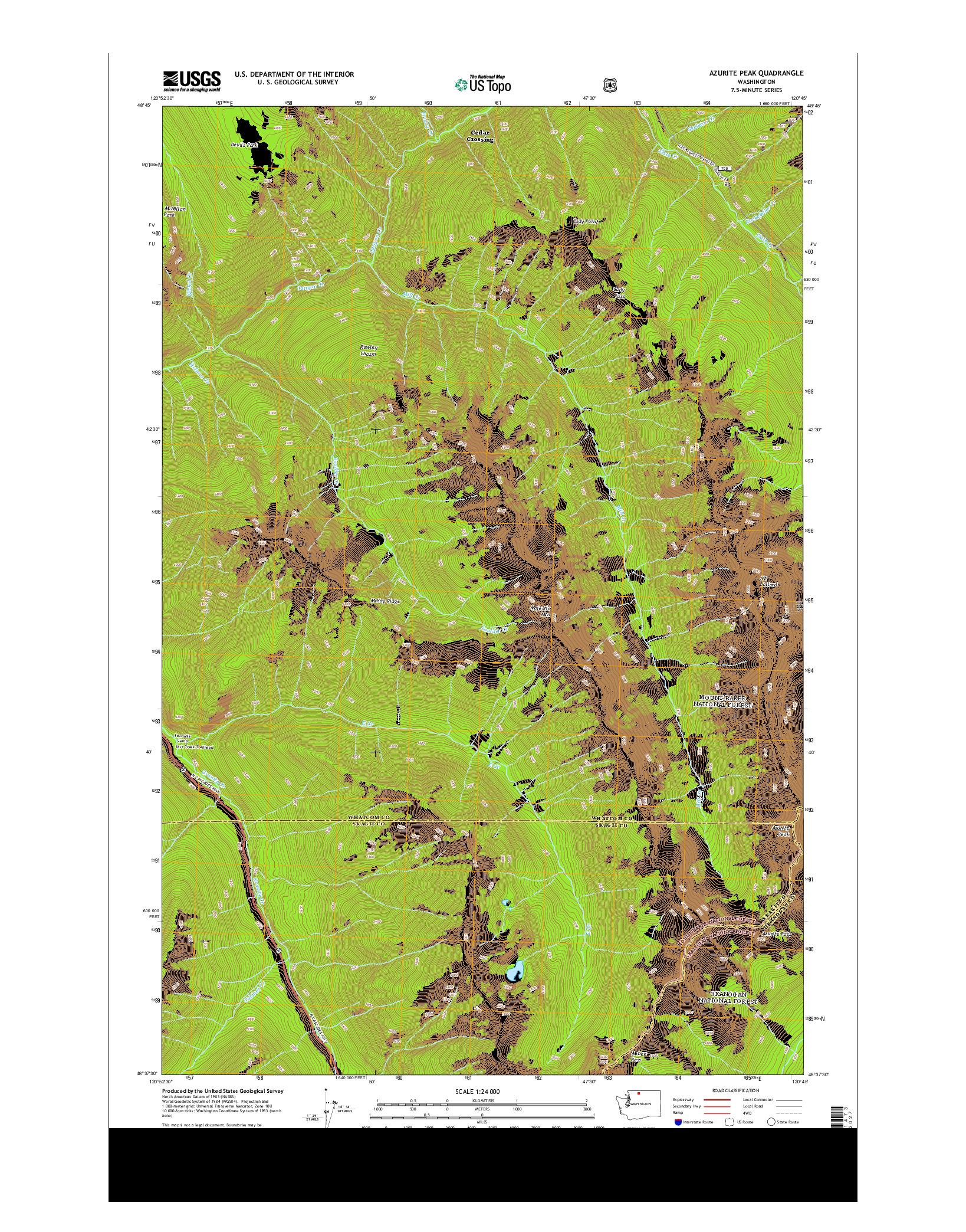 USGS US TOPO 7.5-MINUTE MAP FOR AZURITE PEAK, WA 2014