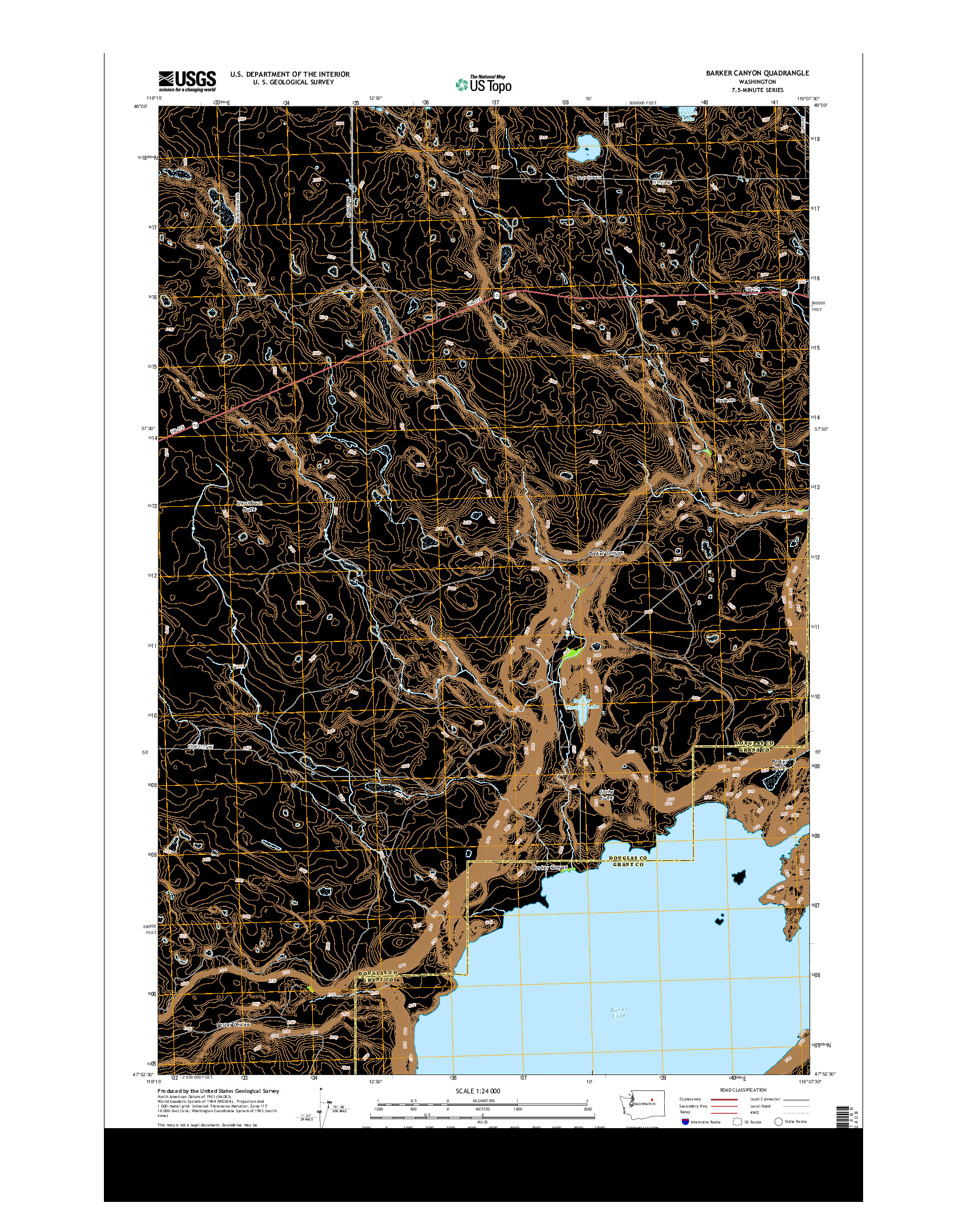USGS US TOPO 7.5-MINUTE MAP FOR BARKER CANYON, WA 2014