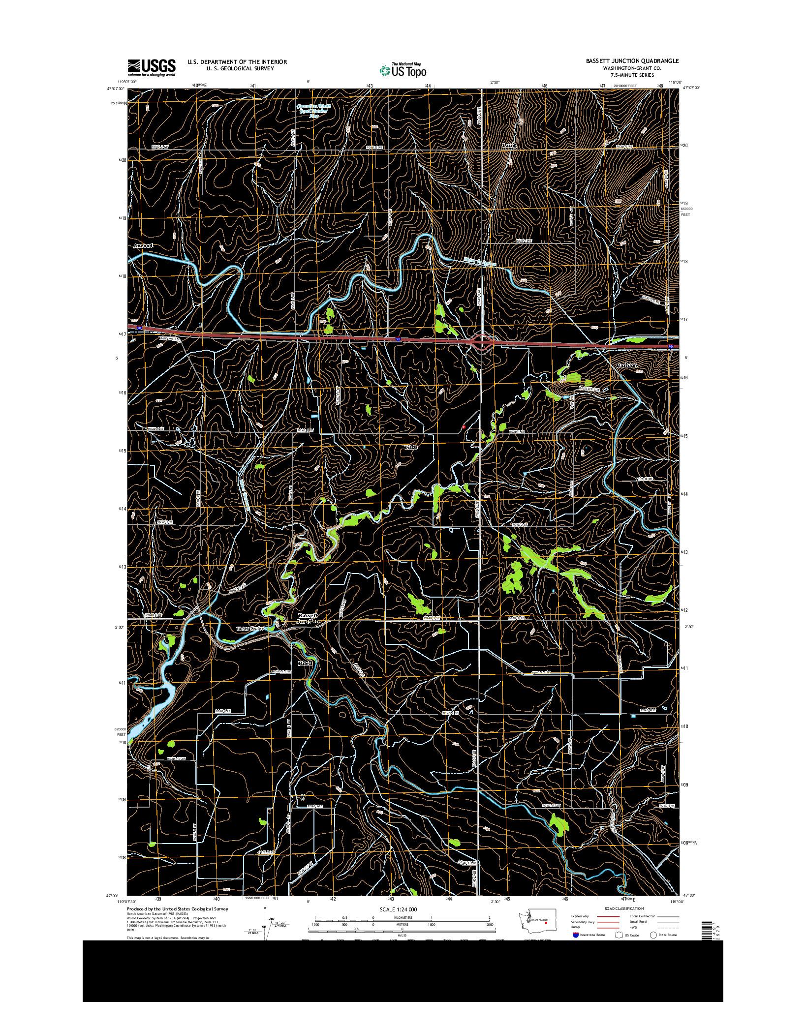 USGS US TOPO 7.5-MINUTE MAP FOR BASSETT JUNCTION, WA 2014