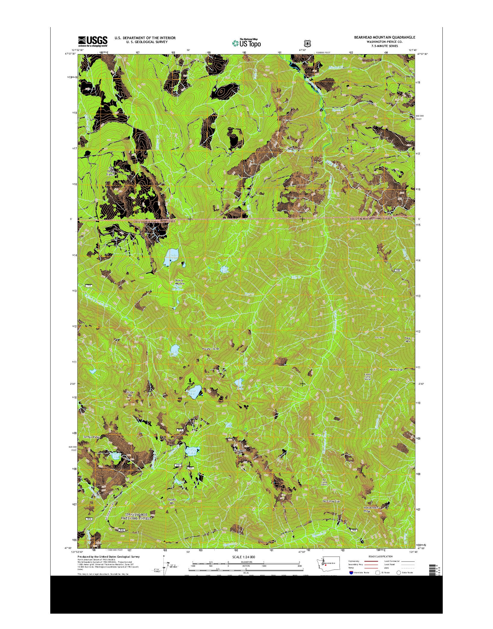 USGS US TOPO 7.5-MINUTE MAP FOR BEARHEAD MOUNTAIN, WA 2014