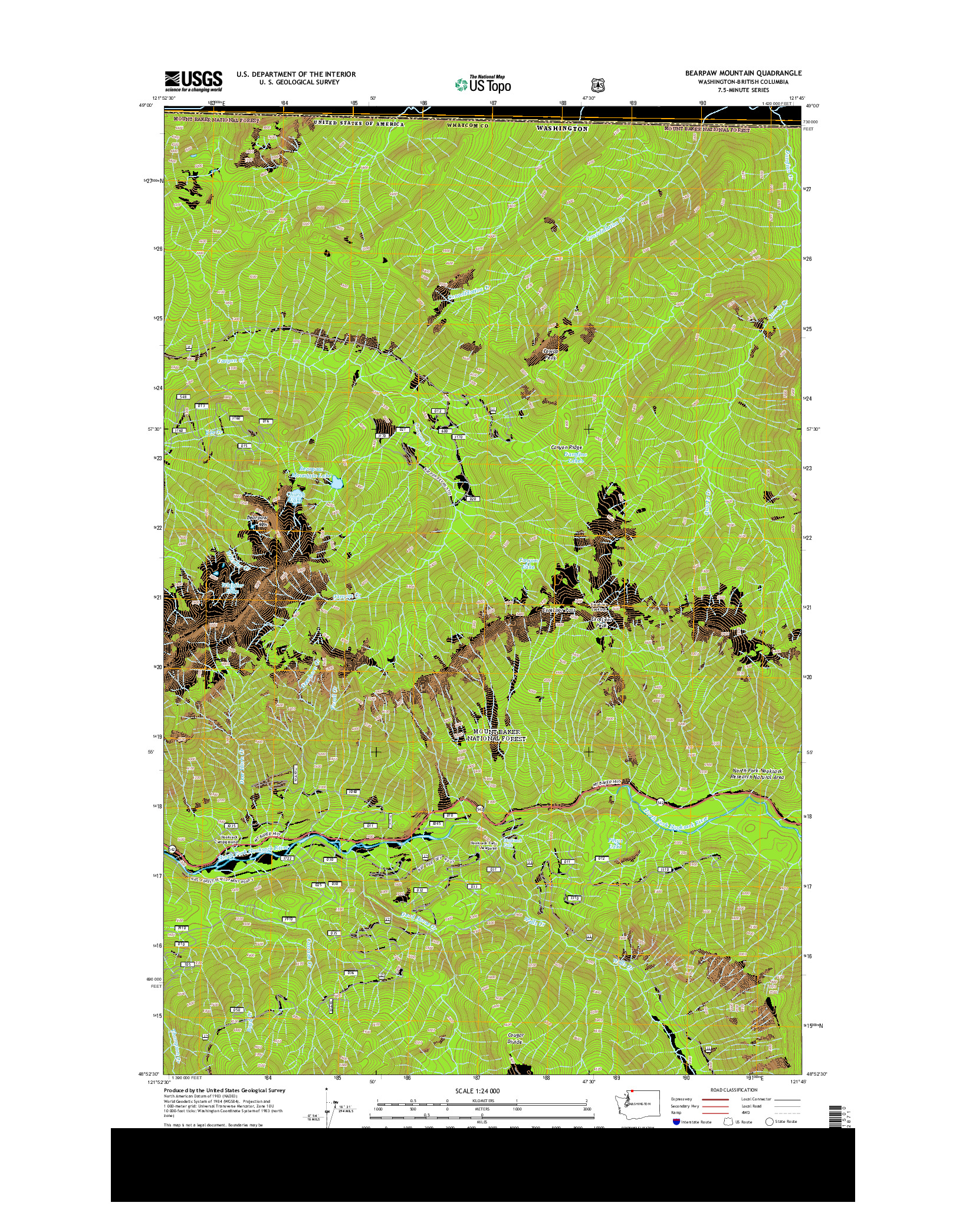 USGS US TOPO 7.5-MINUTE MAP FOR BEARPAW MOUNTAIN, WA-BC 2014