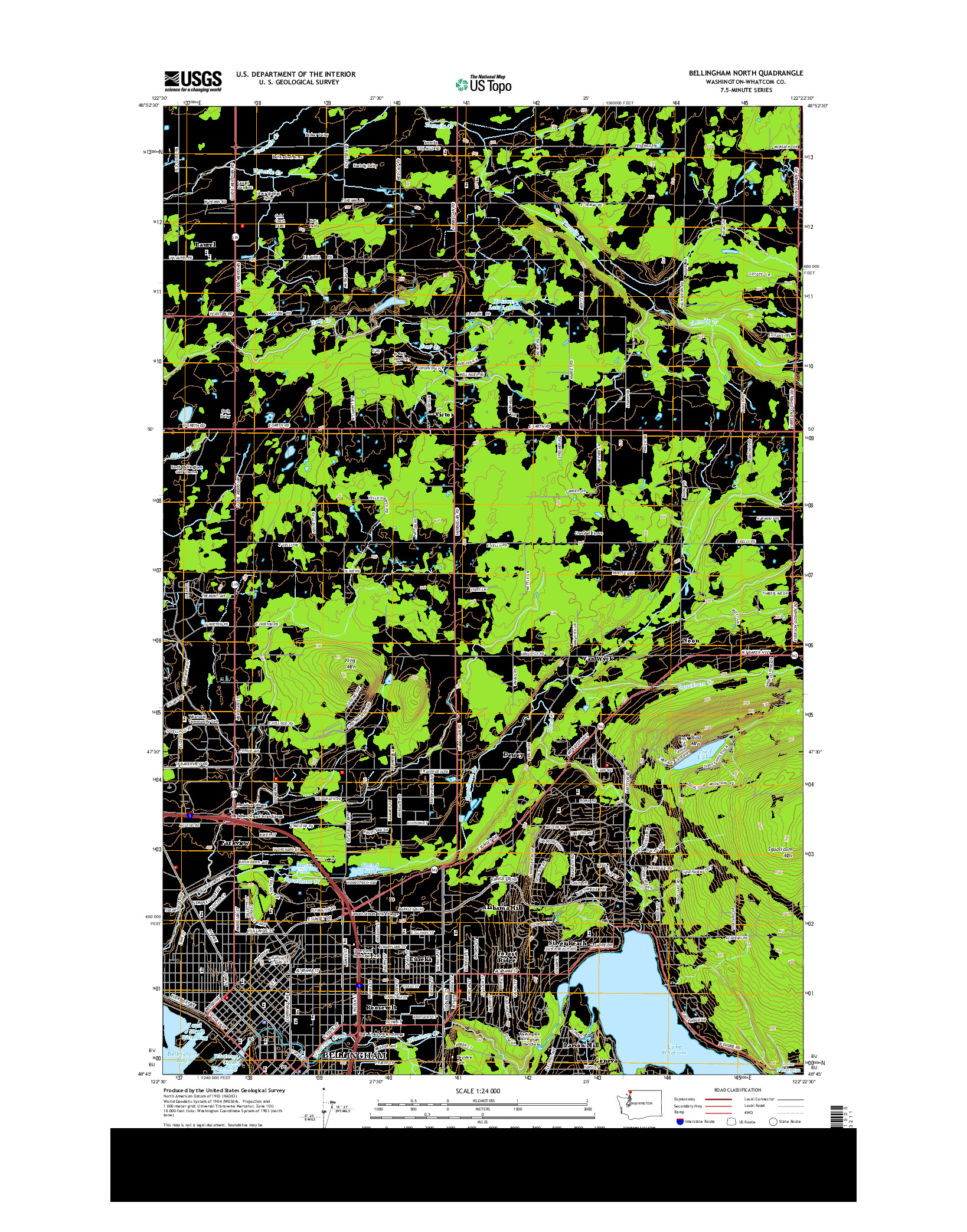 USGS US TOPO 7.5-MINUTE MAP FOR BELLINGHAM NORTH, WA 2014