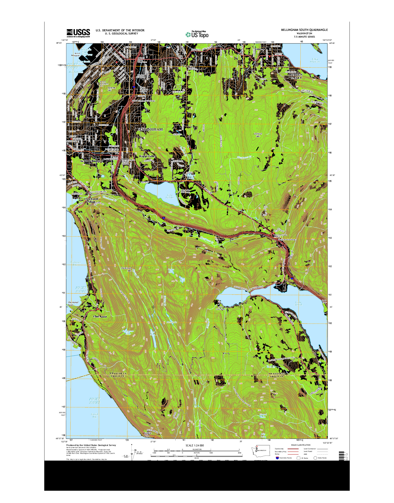 USGS US TOPO 7.5-MINUTE MAP FOR BELLINGHAM SOUTH, WA 2014