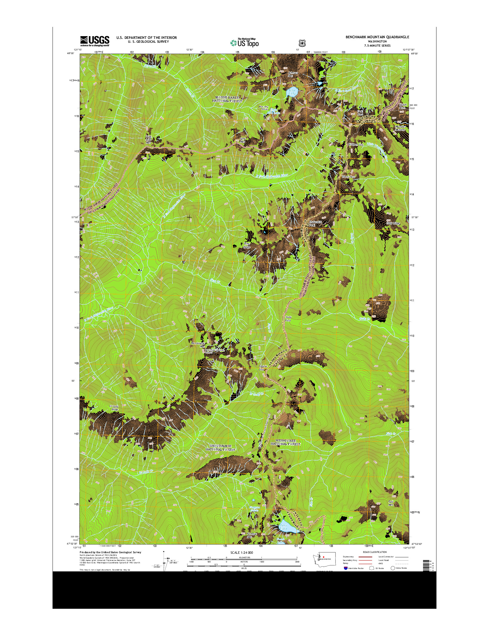 USGS US TOPO 7.5-MINUTE MAP FOR BENCHMARK MOUNTAIN, WA 2014