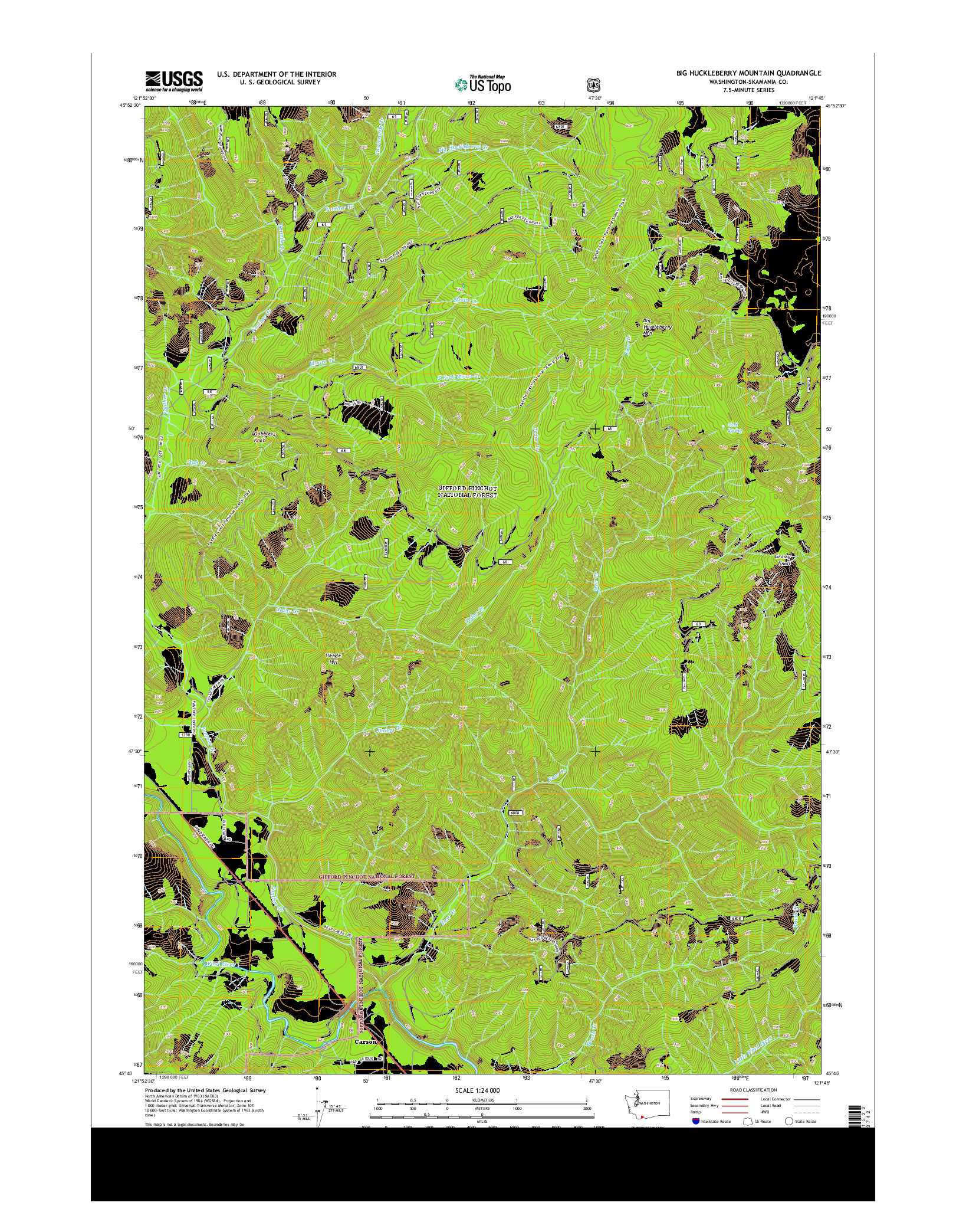 USGS US TOPO 7.5-MINUTE MAP FOR BIG HUCKLEBERRY MOUNTAIN, WA 2014