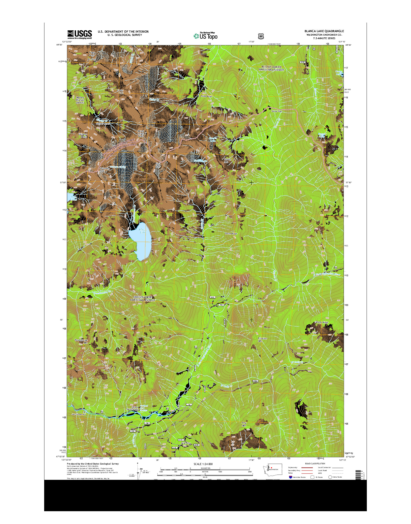USGS US TOPO 7.5-MINUTE MAP FOR BLANCA LAKE, WA 2014