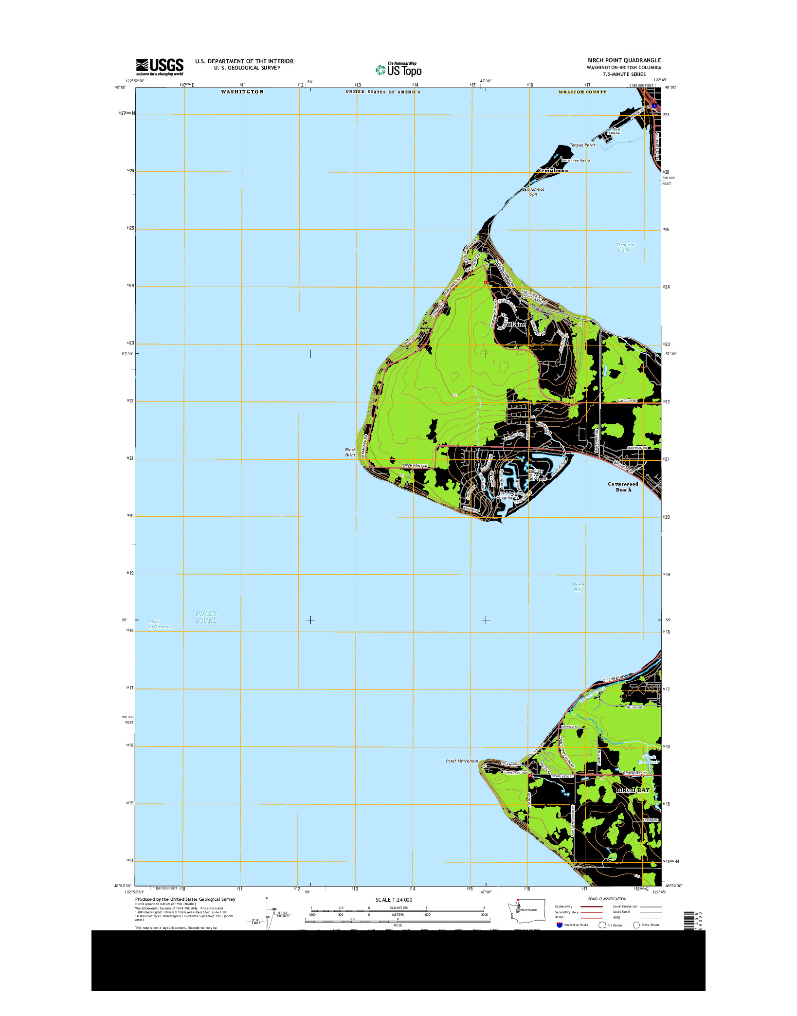 USGS US TOPO 7.5-MINUTE MAP FOR BIRCH POINT, WA-BC 2014
