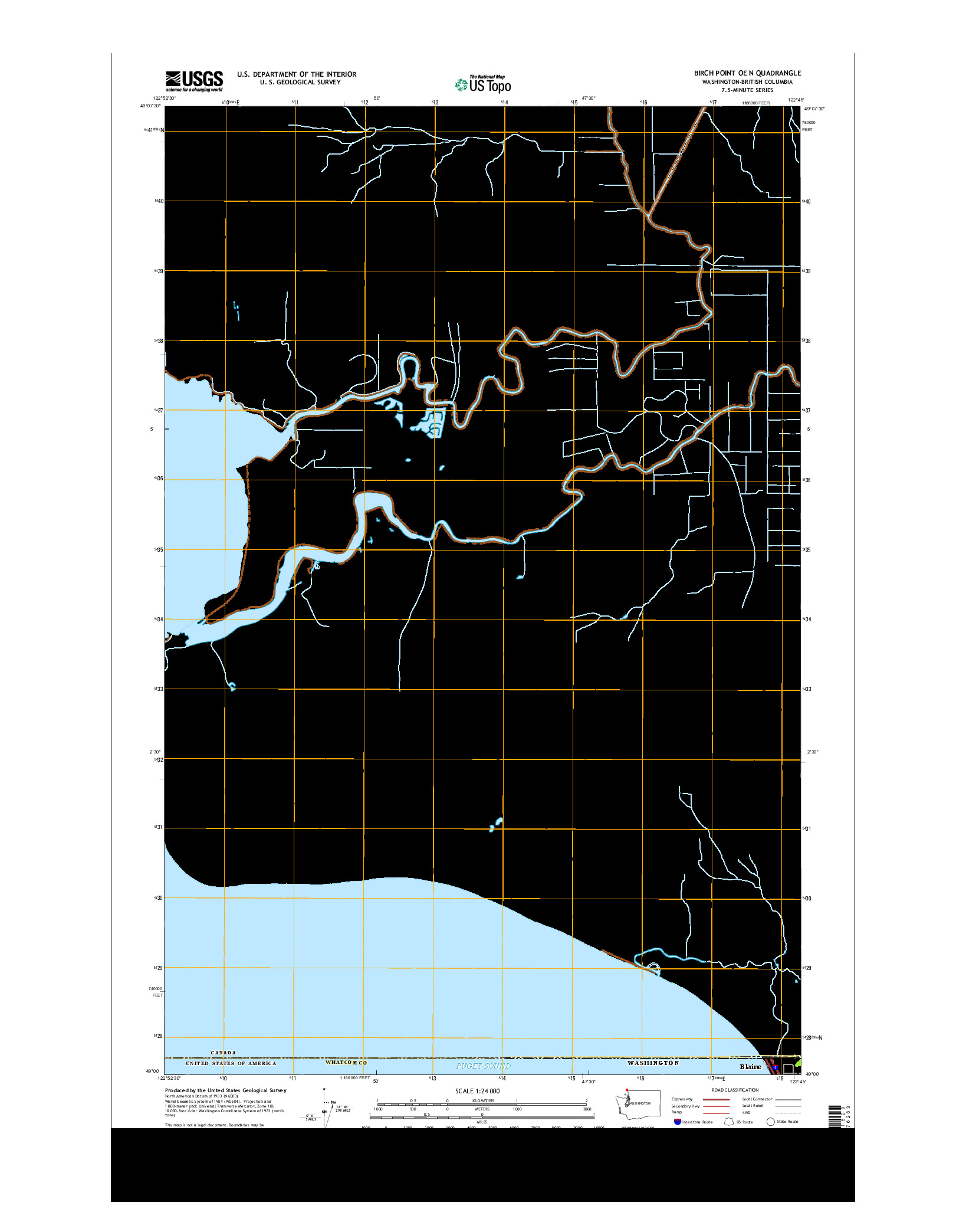 USGS US TOPO 7.5-MINUTE MAP FOR BIRCH POINT OE N, WA-BC 2014