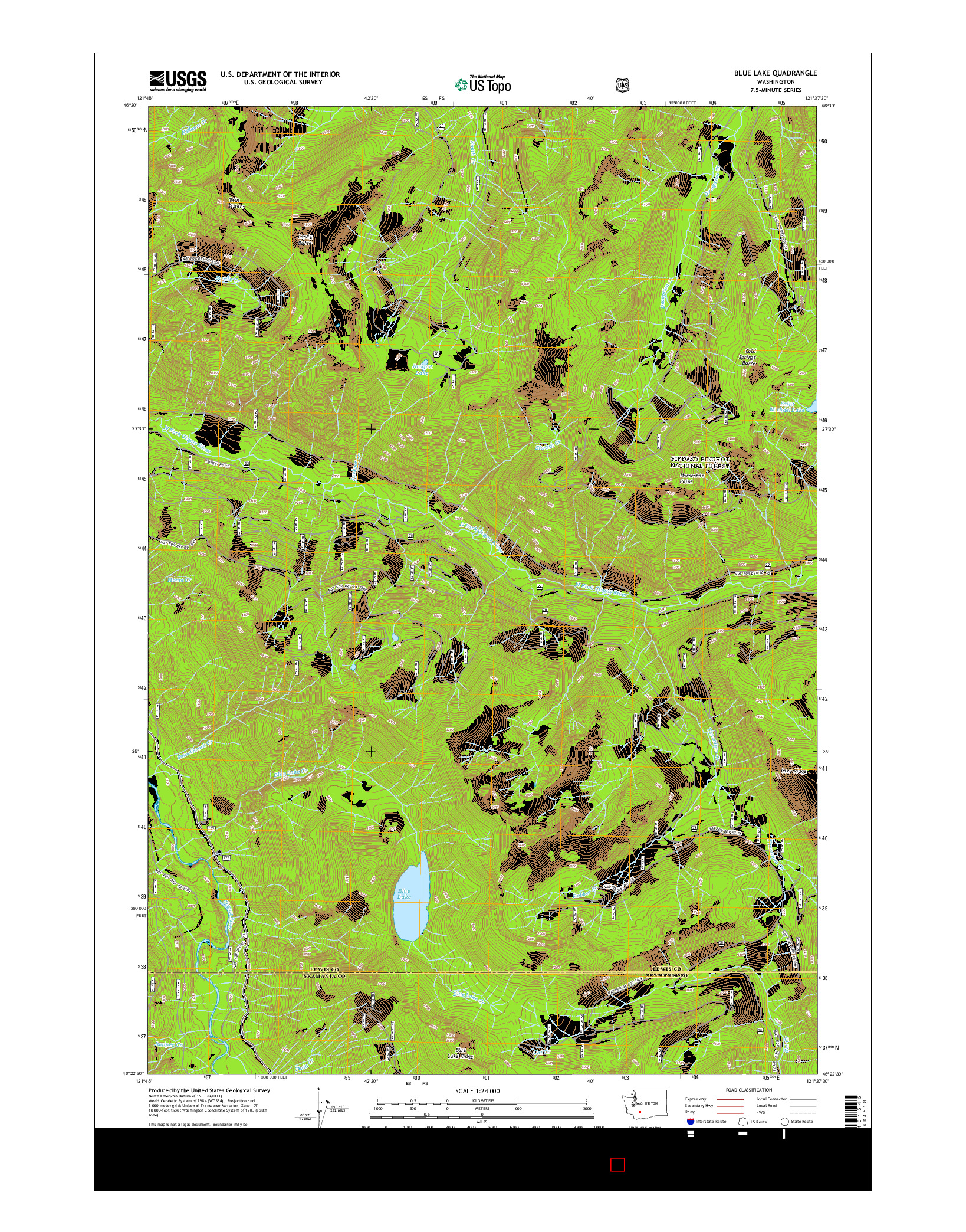 USGS US TOPO 7.5-MINUTE MAP FOR BLUE LAKE, WA 2014