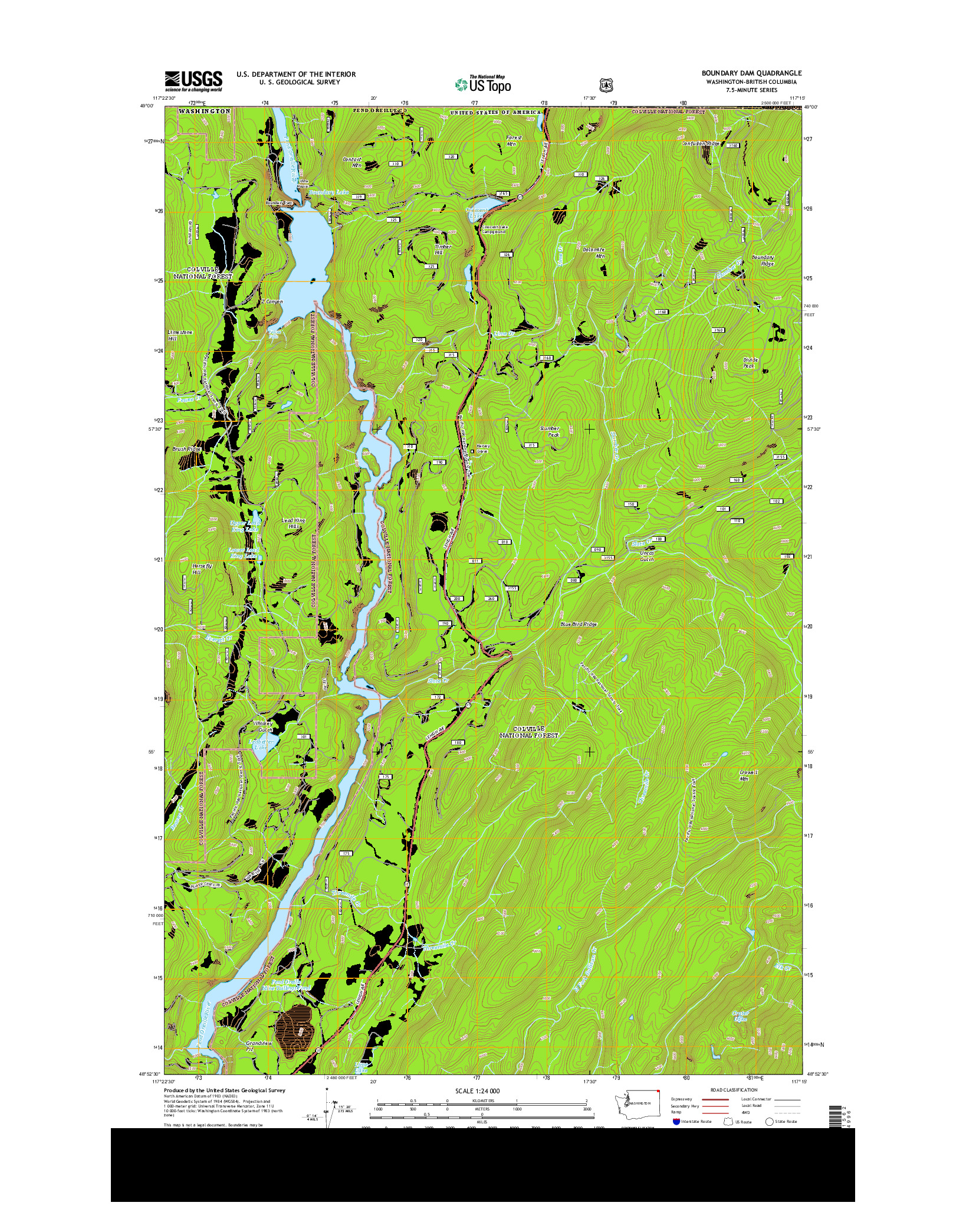 USGS US TOPO 7.5-MINUTE MAP FOR BOUNDARY DAM, WA-BC 2014