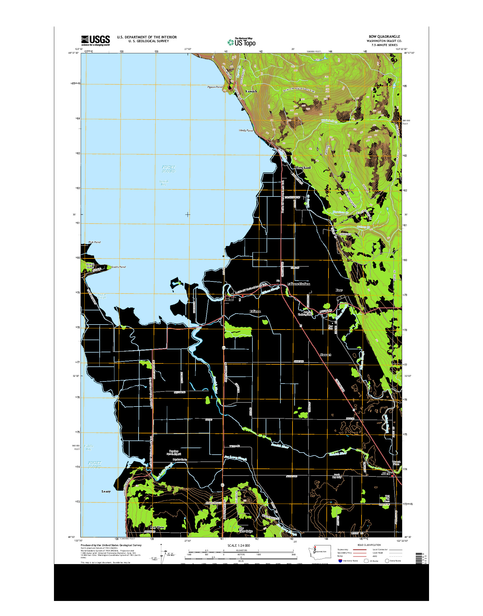 USGS US TOPO 7.5-MINUTE MAP FOR BOW, WA 2014