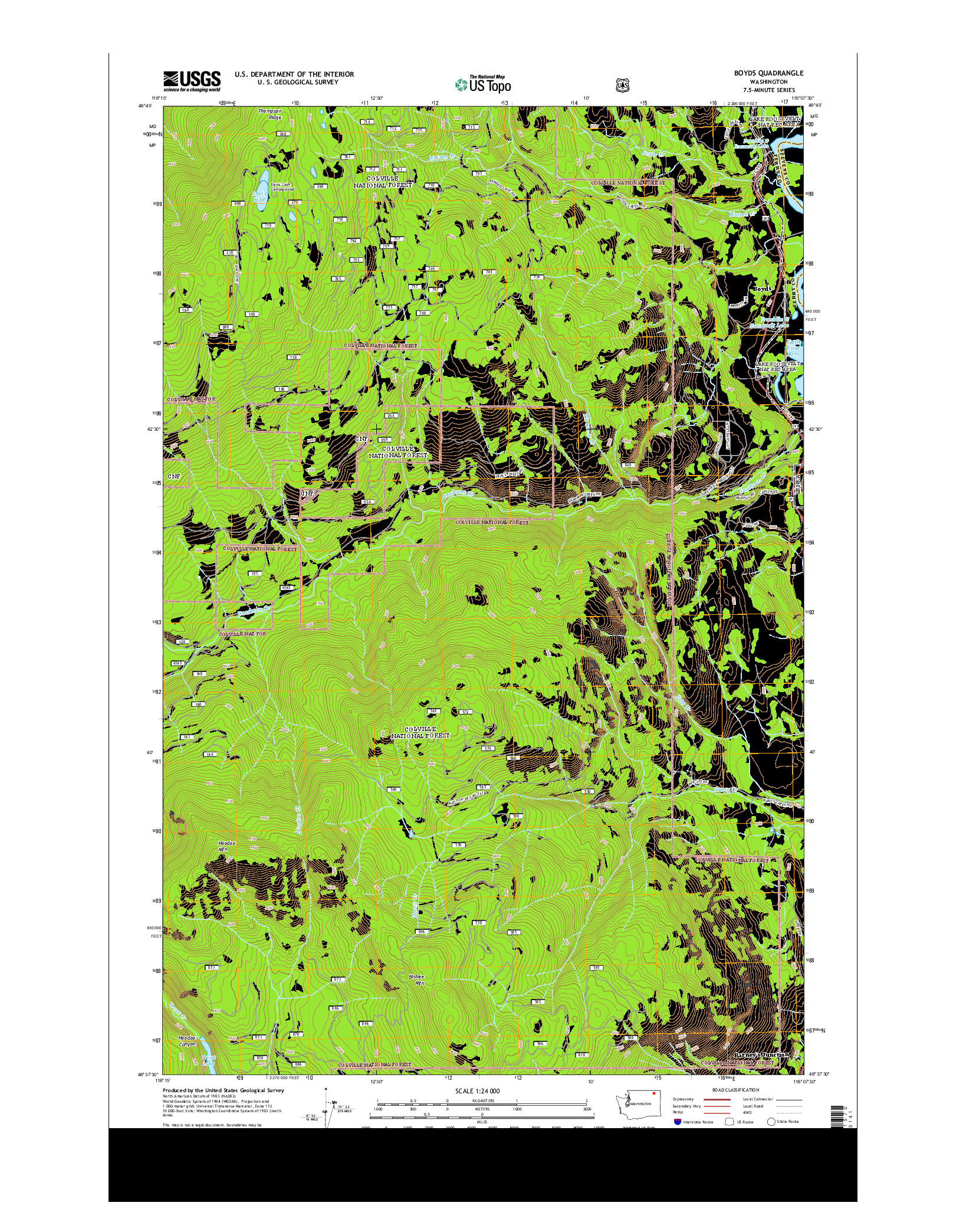 USGS US TOPO 7.5-MINUTE MAP FOR BOYDS, WA 2014