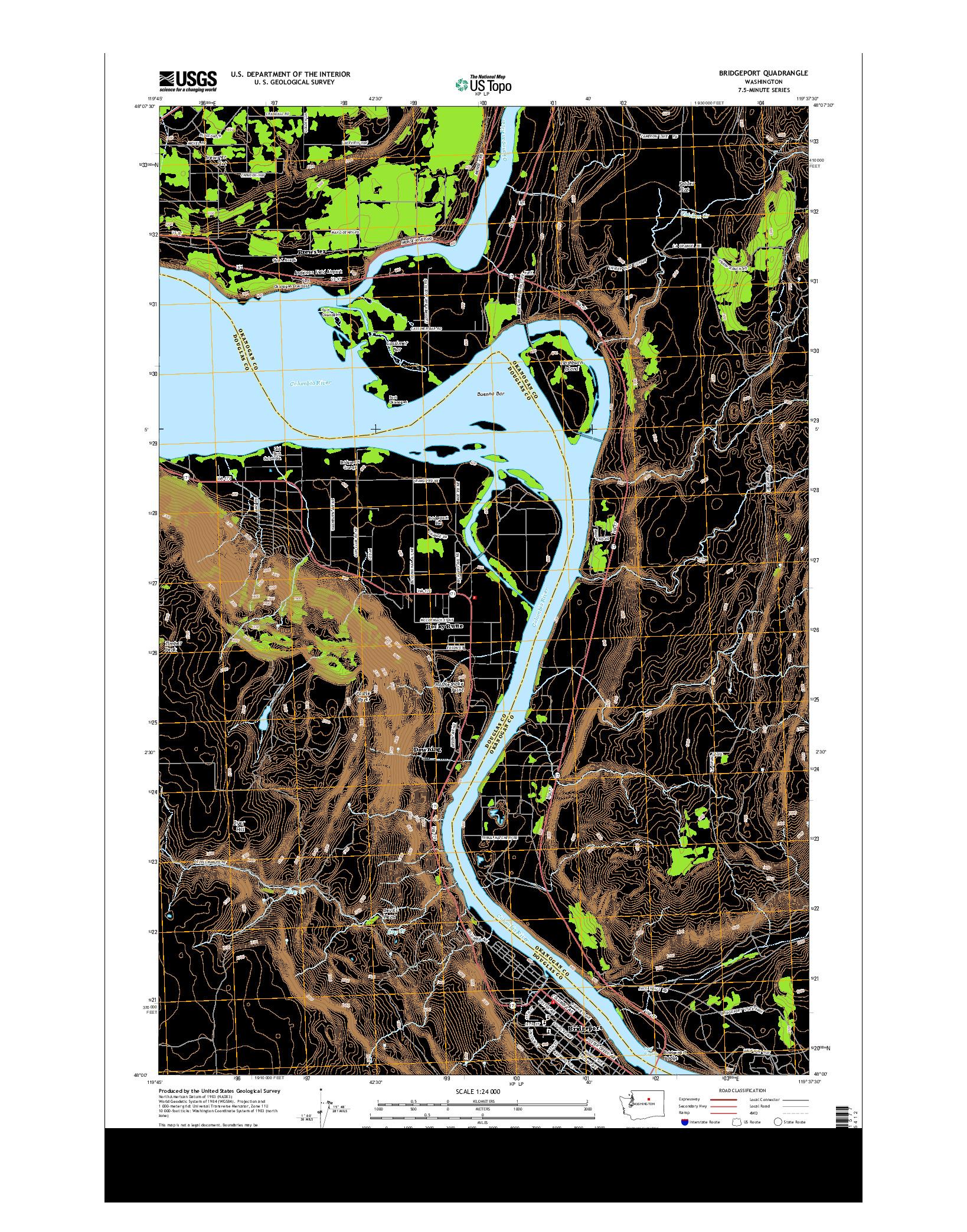 USGS US TOPO 7.5-MINUTE MAP FOR BRIDGEPORT, WA 2014