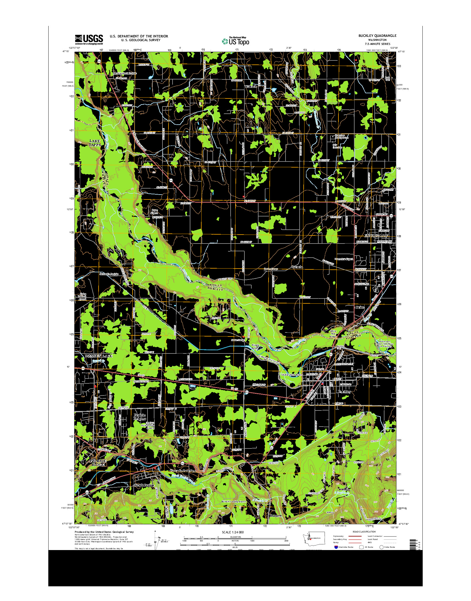 USGS US TOPO 7.5-MINUTE MAP FOR BUCKLEY, WA 2014