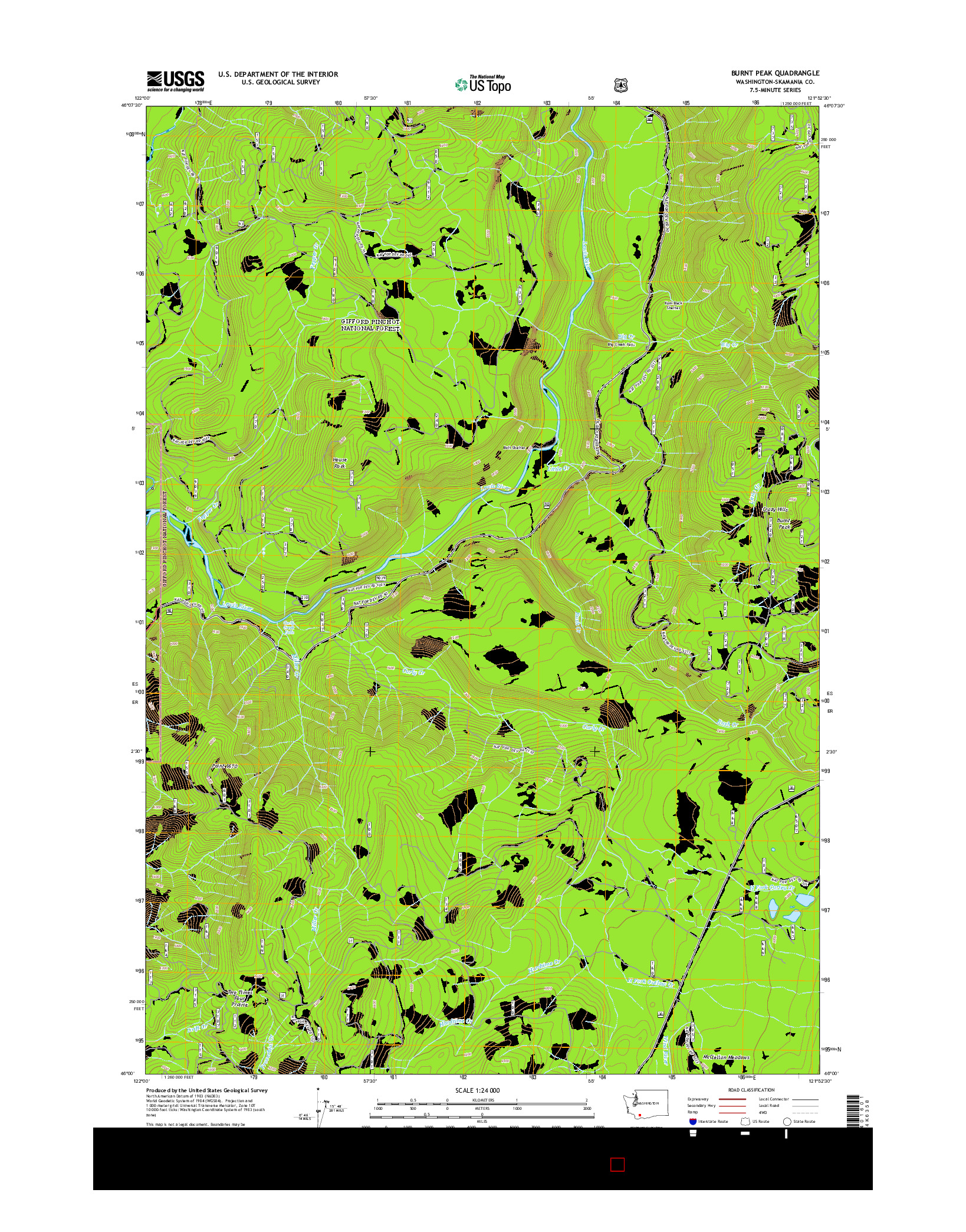 USGS US TOPO 7.5-MINUTE MAP FOR BURNT PEAK, WA 2014