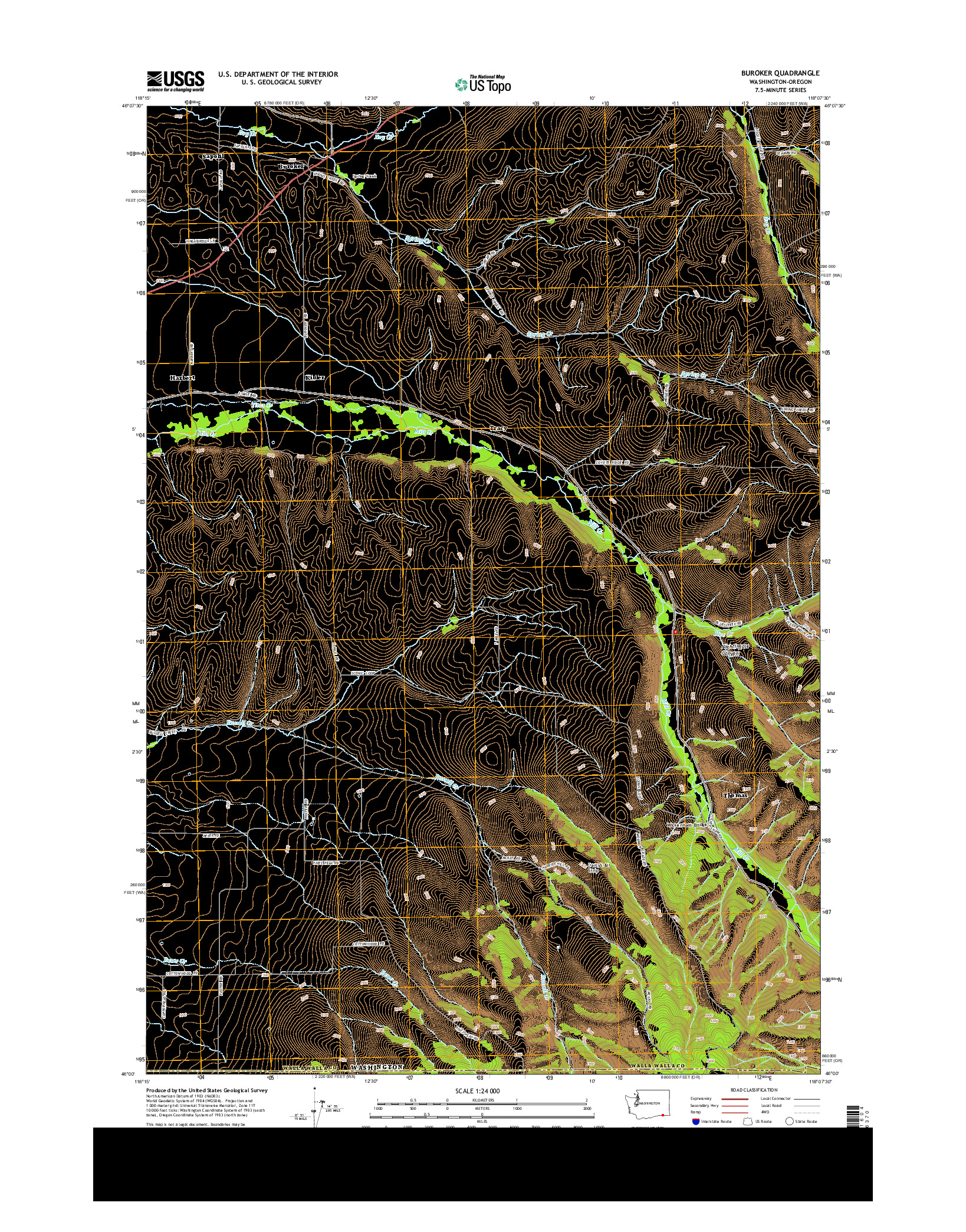 USGS US TOPO 7.5-MINUTE MAP FOR BUROKER, WA-OR 2014