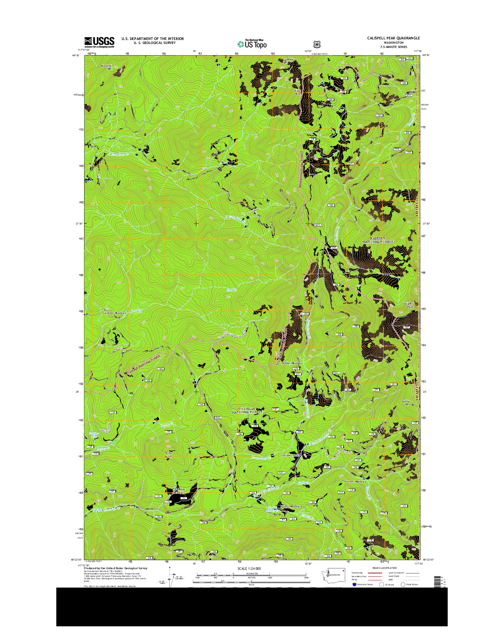 USGS US TOPO 7.5-MINUTE MAP FOR CALISPELL PEAK, WA 2014