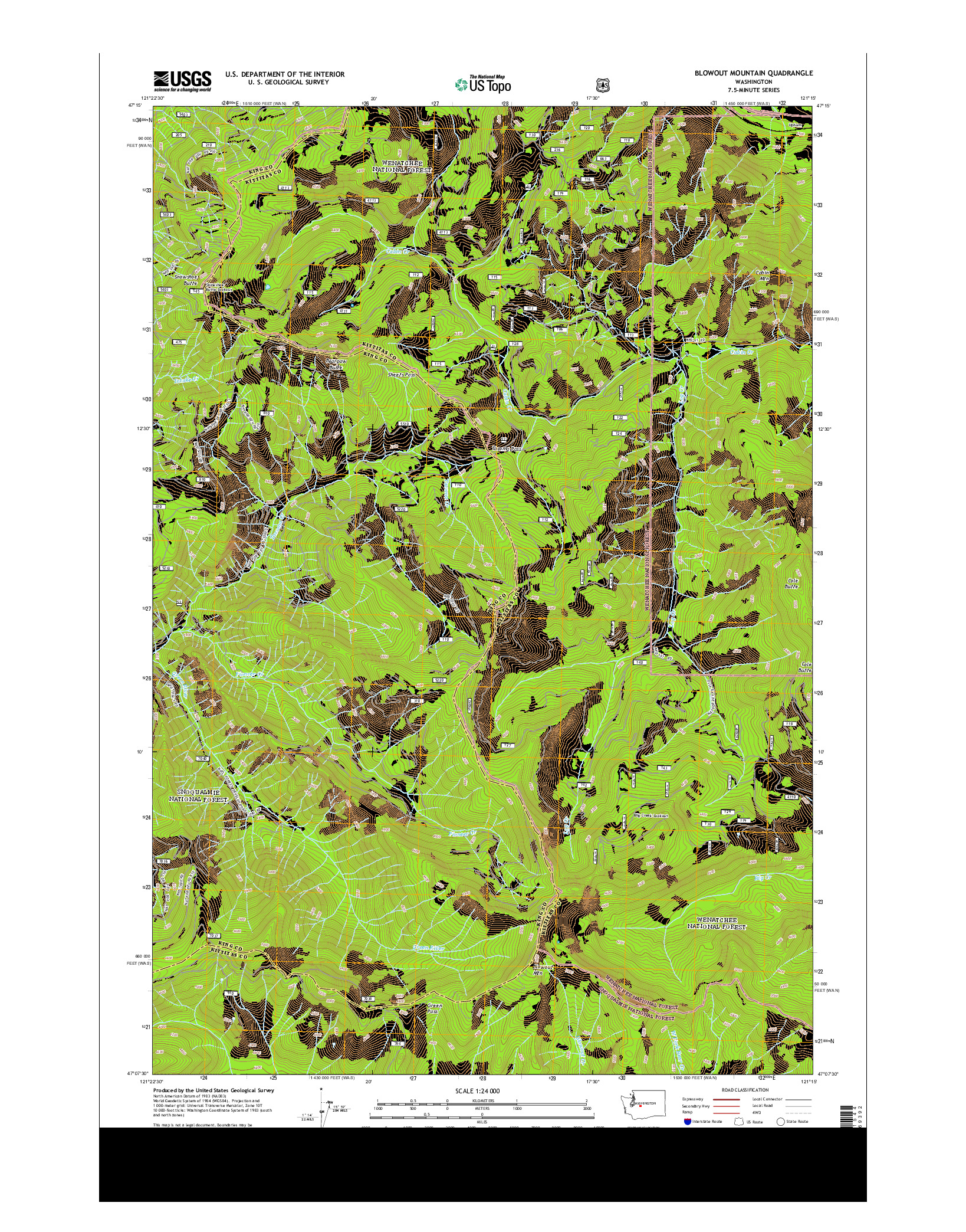 USGS US TOPO 7.5-MINUTE MAP FOR BLOWOUT MOUNTAIN, WA 2014