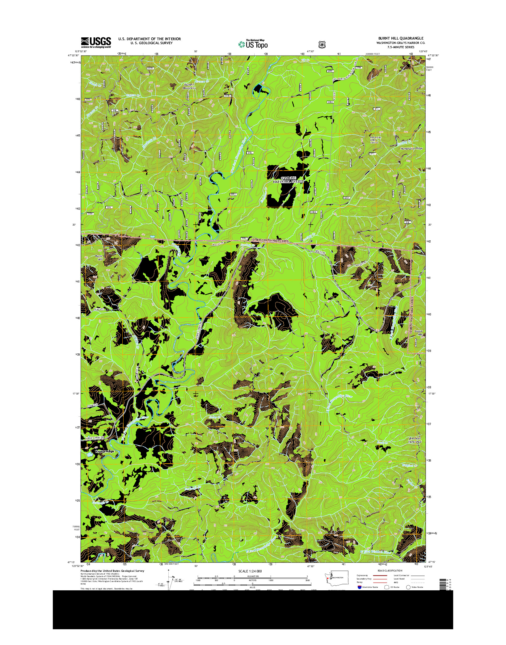 USGS US TOPO 7.5-MINUTE MAP FOR BURNT HILL, WA 2014