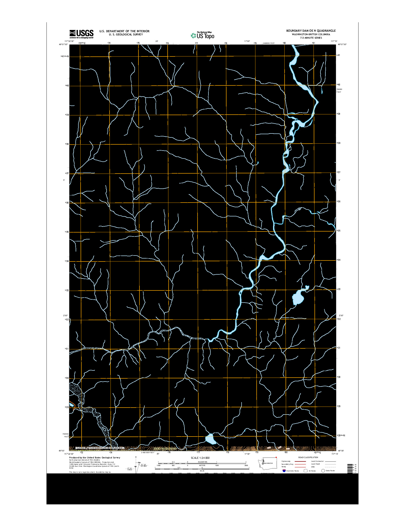 USGS US TOPO 7.5-MINUTE MAP FOR BOUNDARY DAM OE N, WA-BC 2014