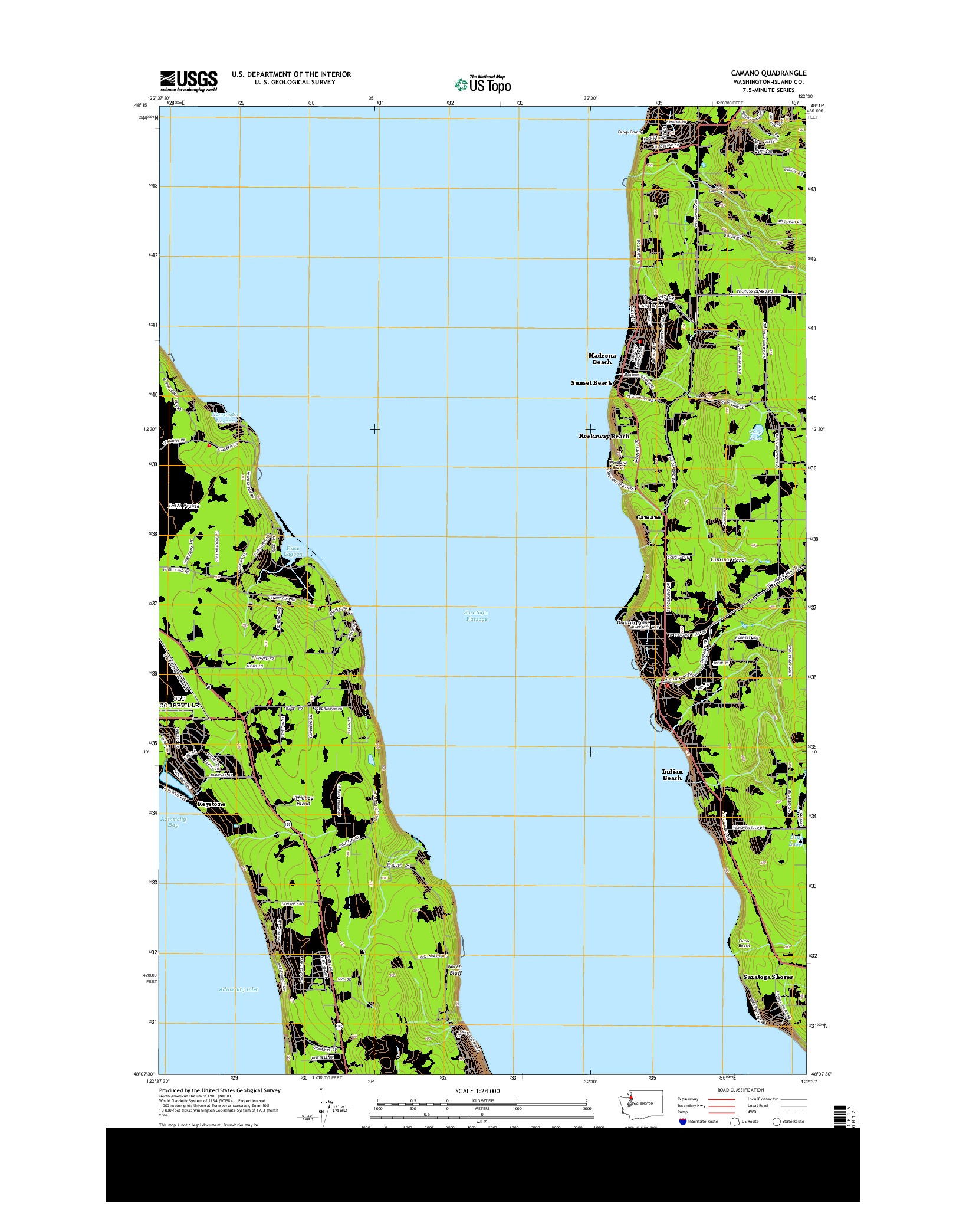 USGS US TOPO 7.5-MINUTE MAP FOR CAMANO, WA 2014