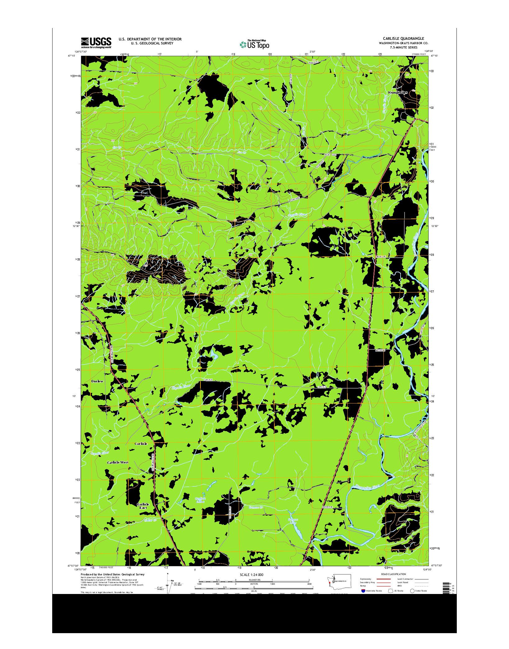 USGS US TOPO 7.5-MINUTE MAP FOR CARLISLE, WA 2014