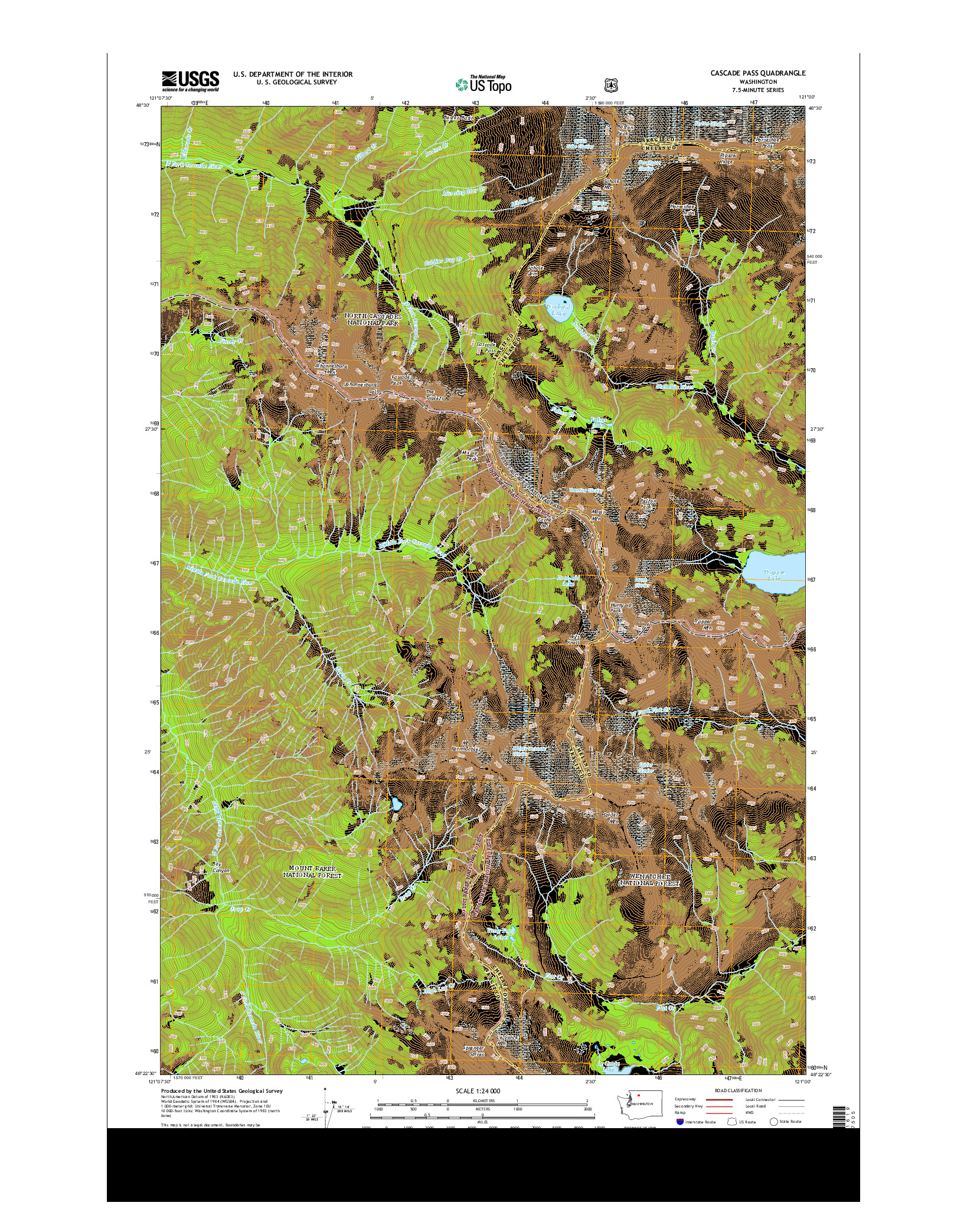 USGS US TOPO 7.5-MINUTE MAP FOR CASCADE PASS, WA 2014