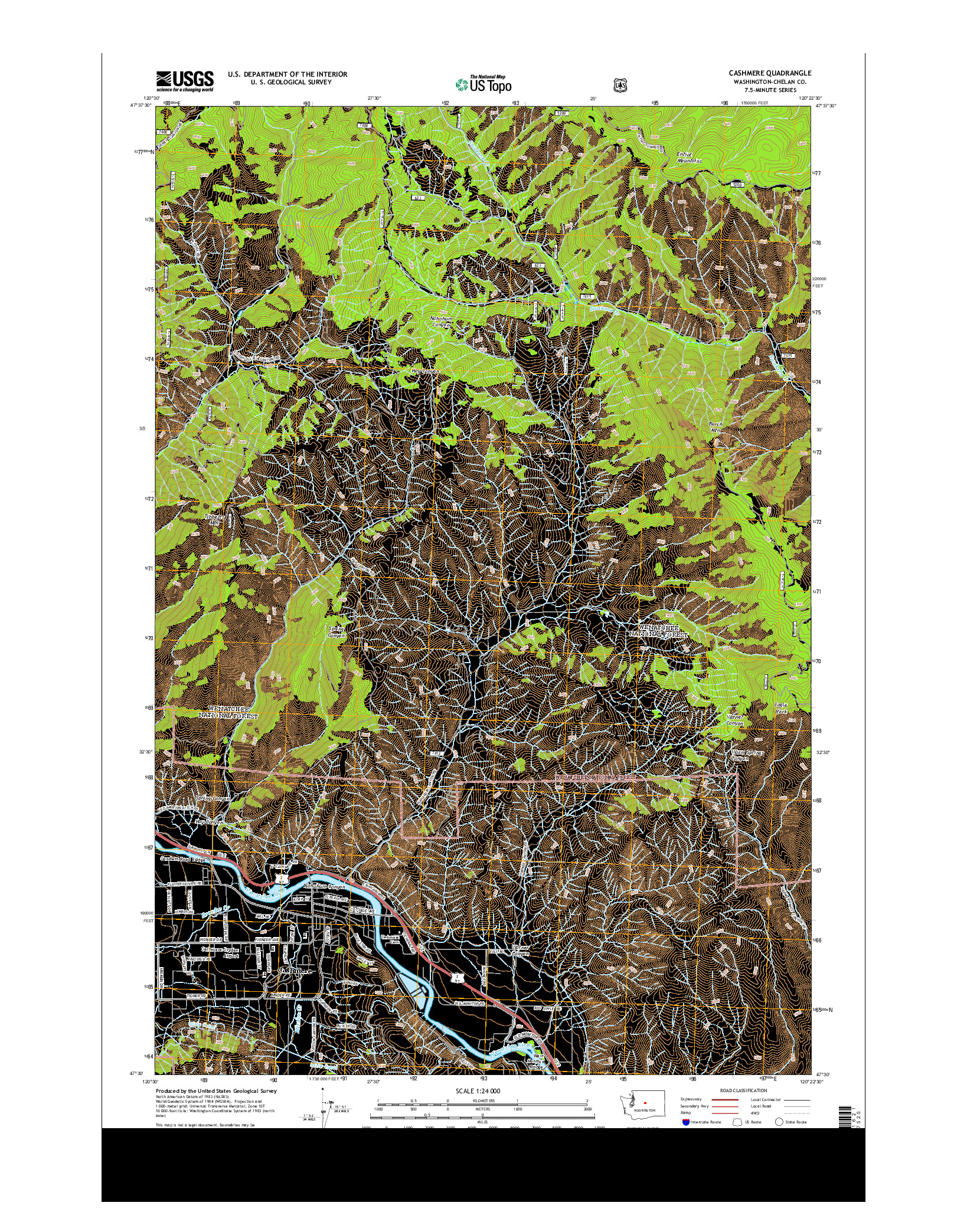 USGS US TOPO 7.5-MINUTE MAP FOR CASHMERE, WA 2014