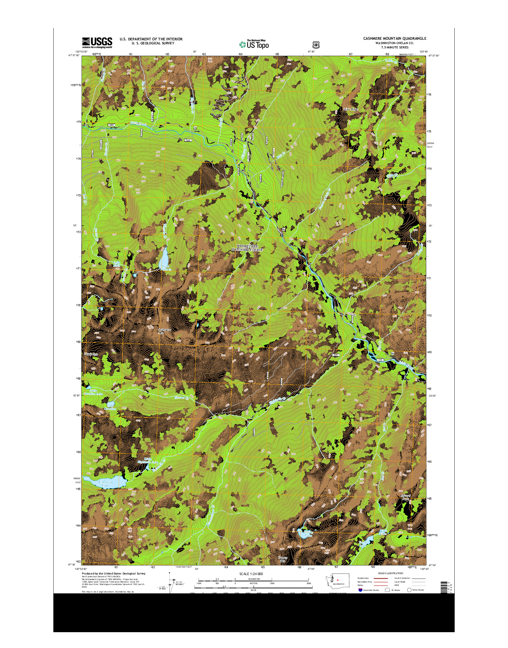 USGS US TOPO 7.5-MINUTE MAP FOR CASHMERE MOUNTAIN, WA 2014
